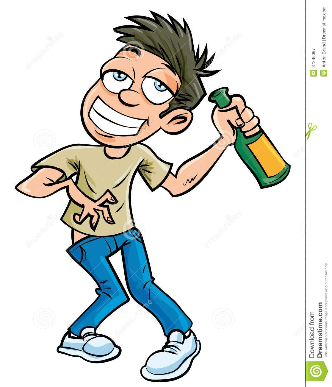 Cartoon Drunk Man With Champagne Bottle Royalty Free Stock