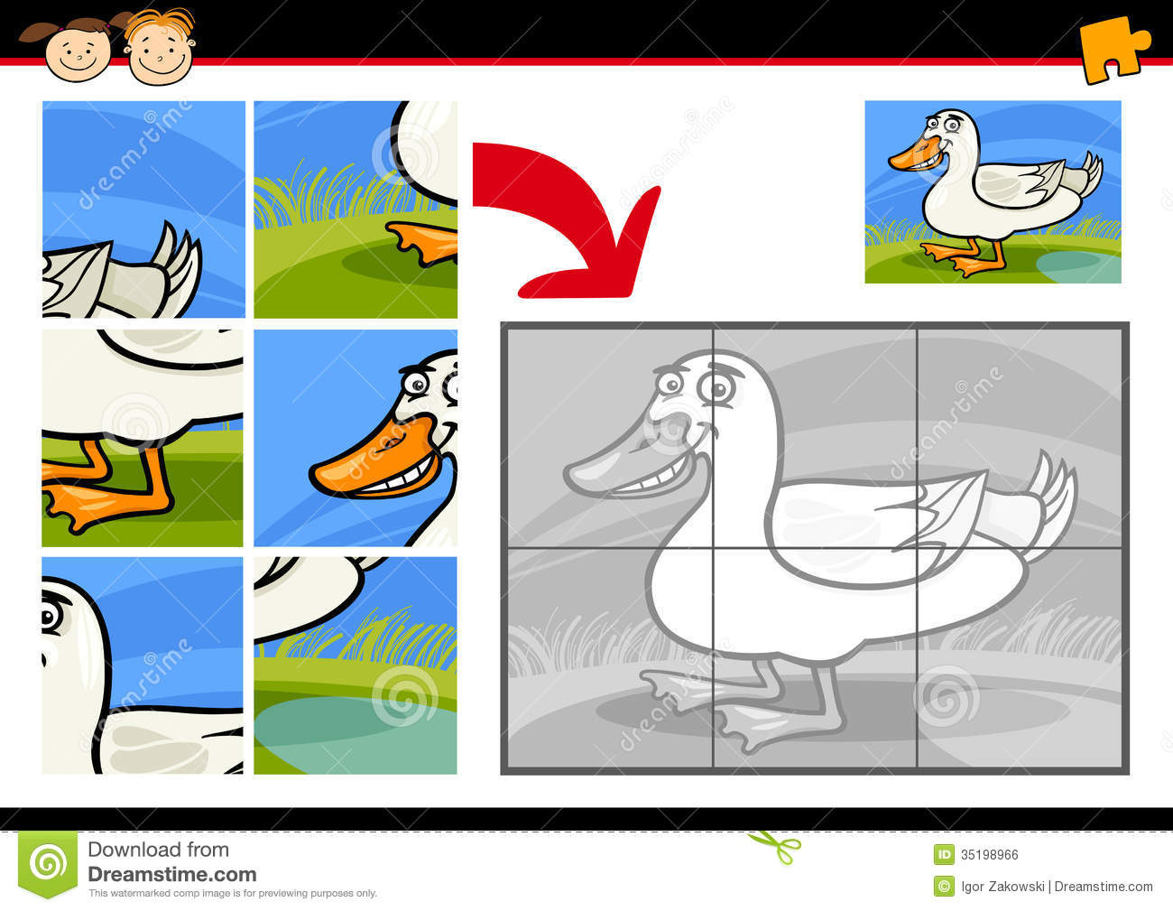 cartoon duck jigsaw puzzle game royalty free stock image image