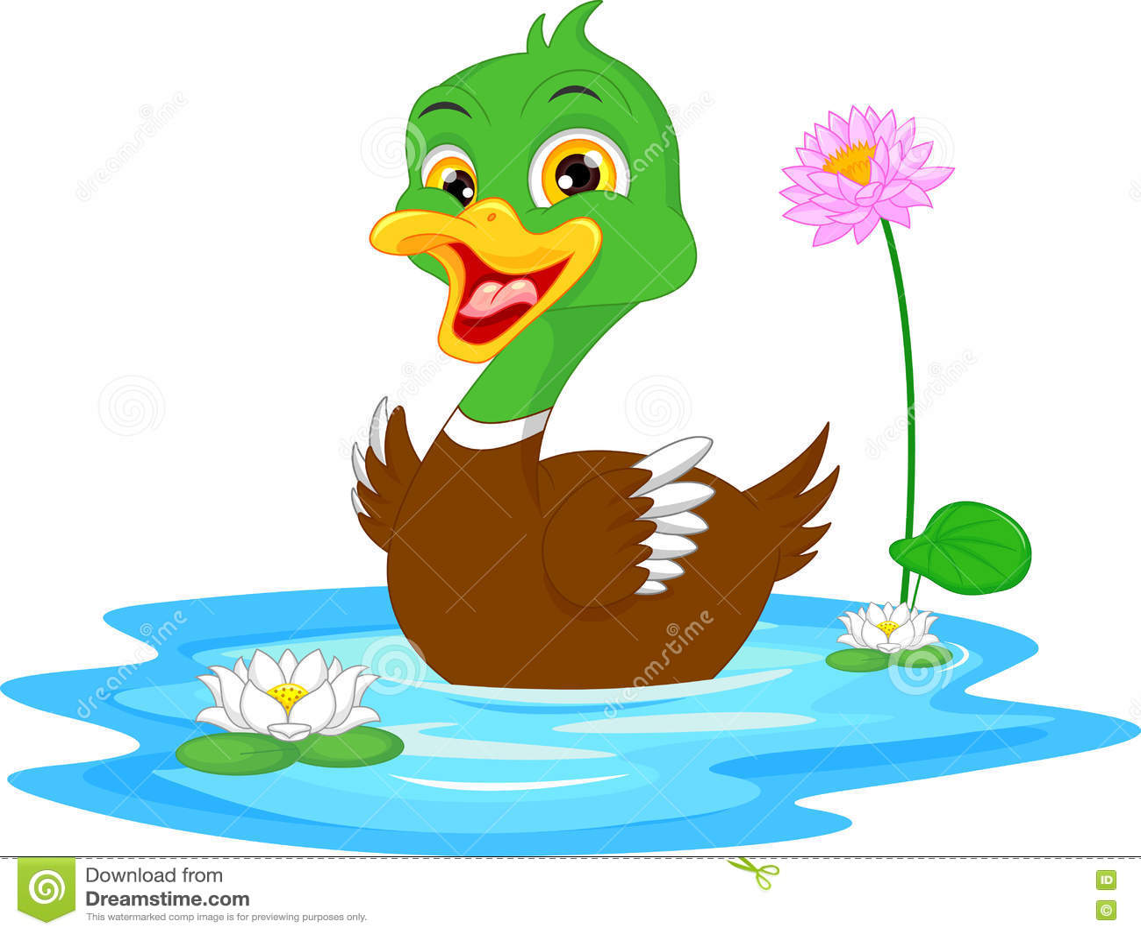 Cartoon duck swimming stock vector. Illustration of ...