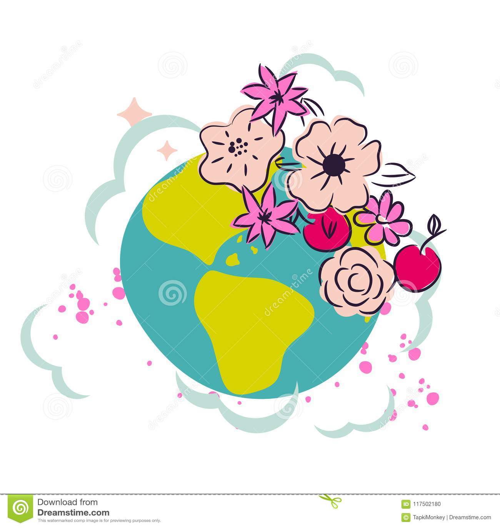 Cartoon Earth With Flower Crown Decor Clipart Vector Stock Vector