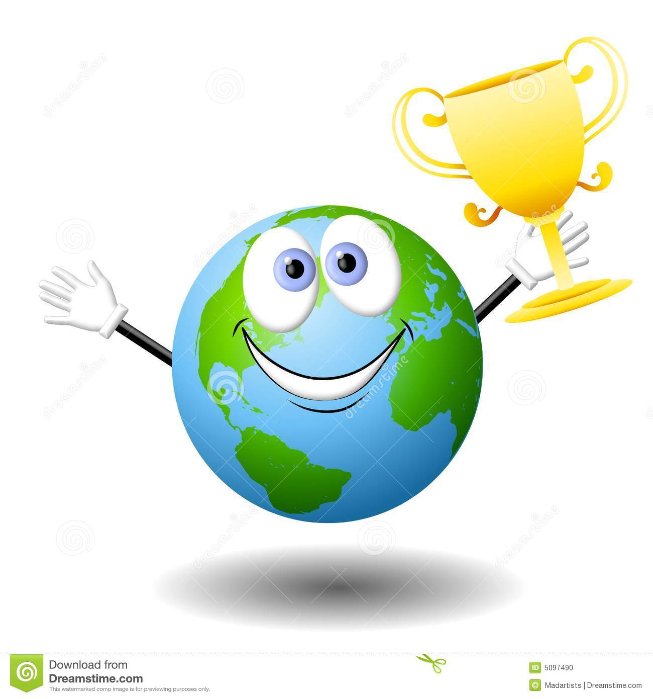 Cartoon Earth With Gold Trophy Stock Photo - Image: 5097490
