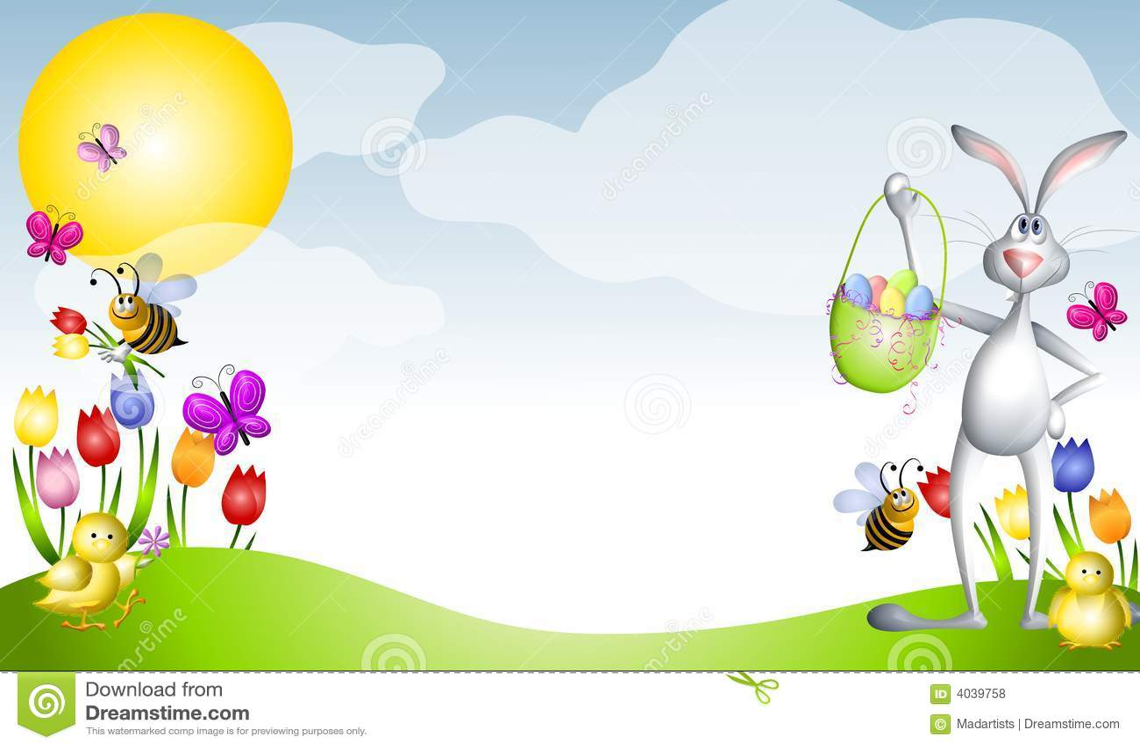 cartoon easter animals spring scene royalty free stock photos