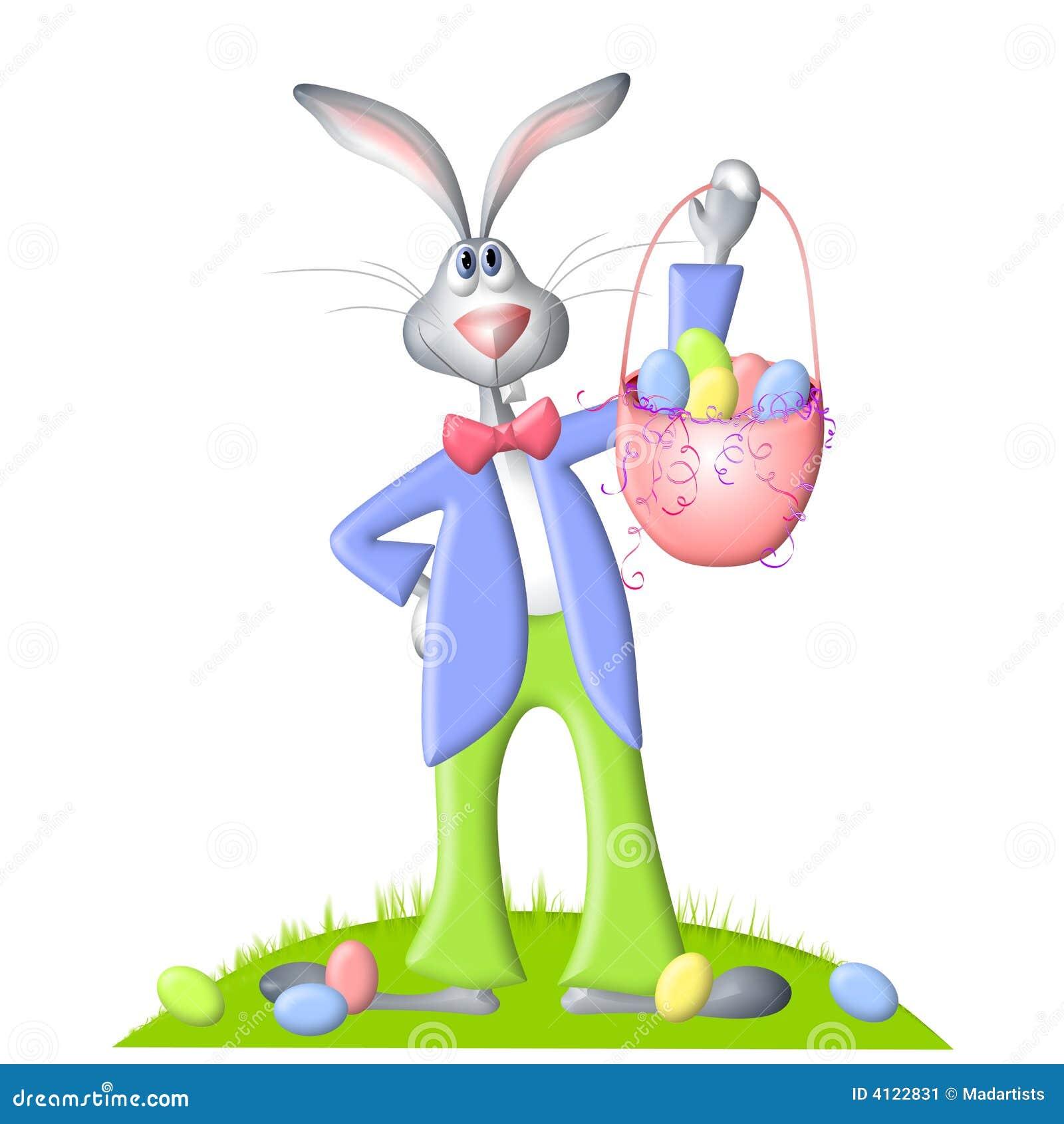 cartoon easter bunny and egg basket stock image image 4122831