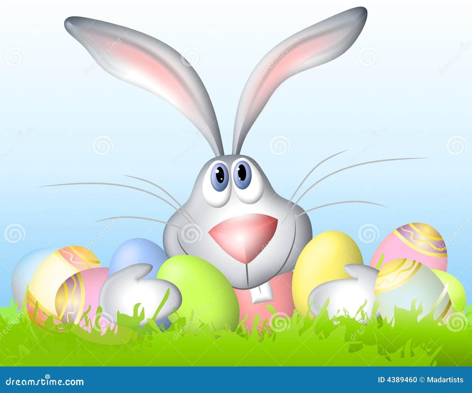 clip art illustration of a cartoonish looking Easter bunny sitting ...
