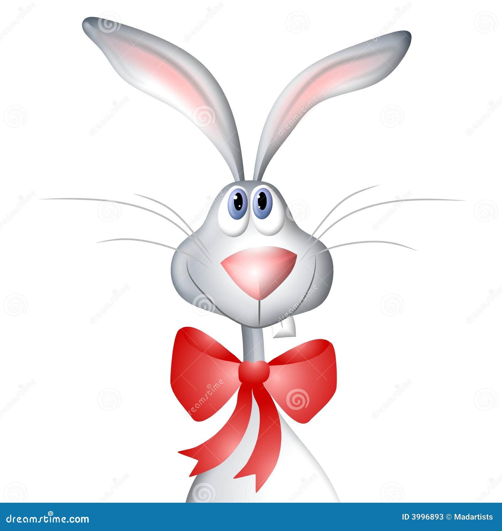 Cartoon Easter Bunny Rabbit Wearing Bow