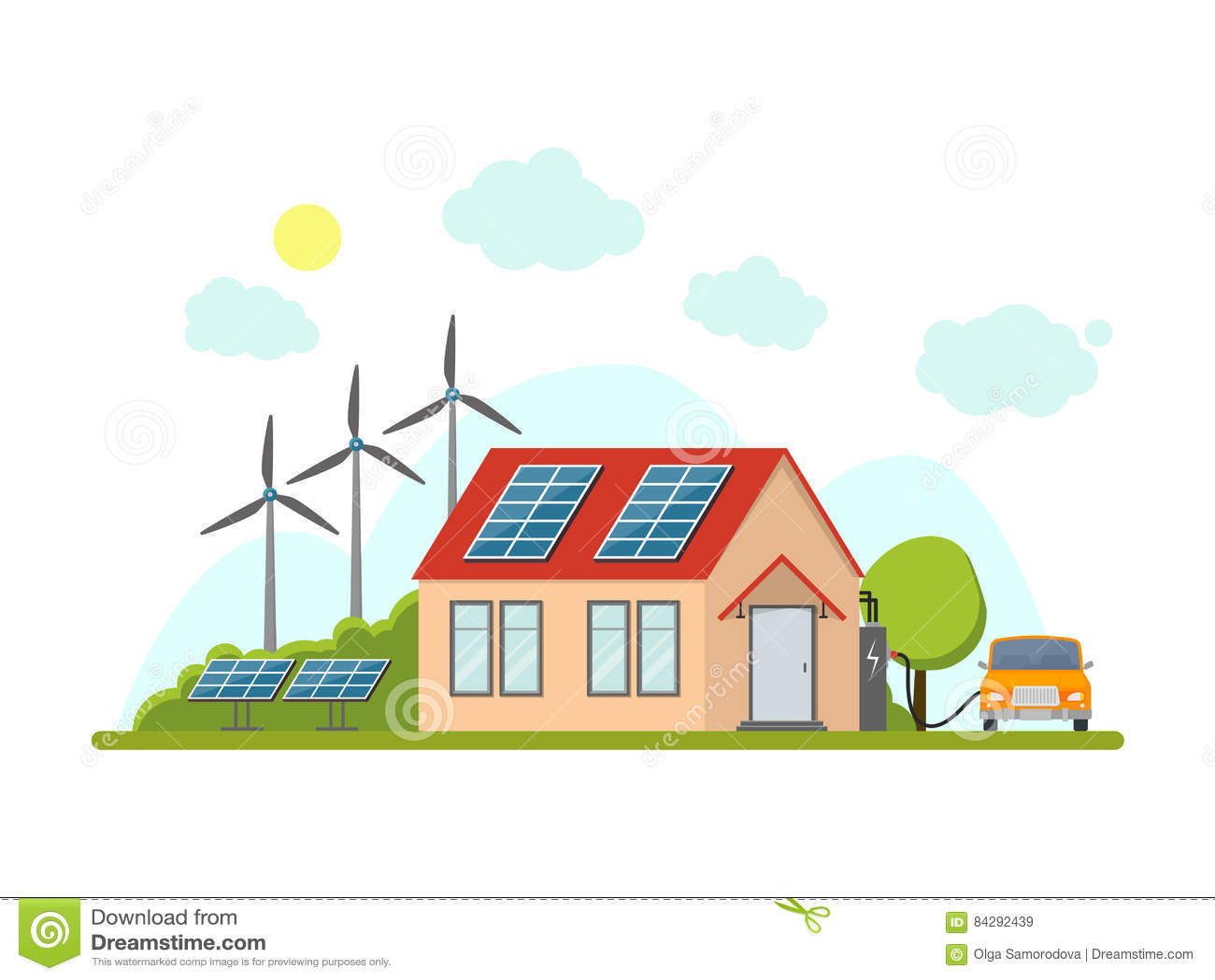 Cartoon Eco Home Exterior Facade. Vector Stock Vector - Illustration ...