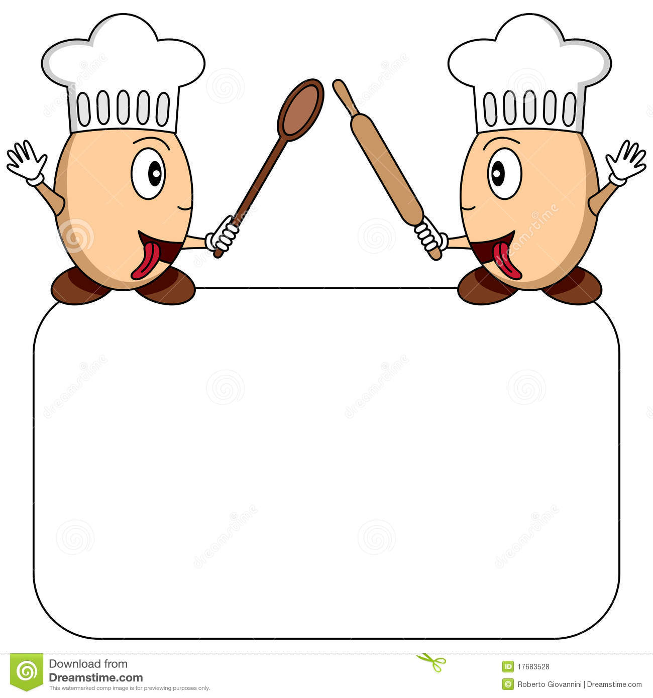 Two funny cartoon egg chefs with a blank banner, isolated on white ...