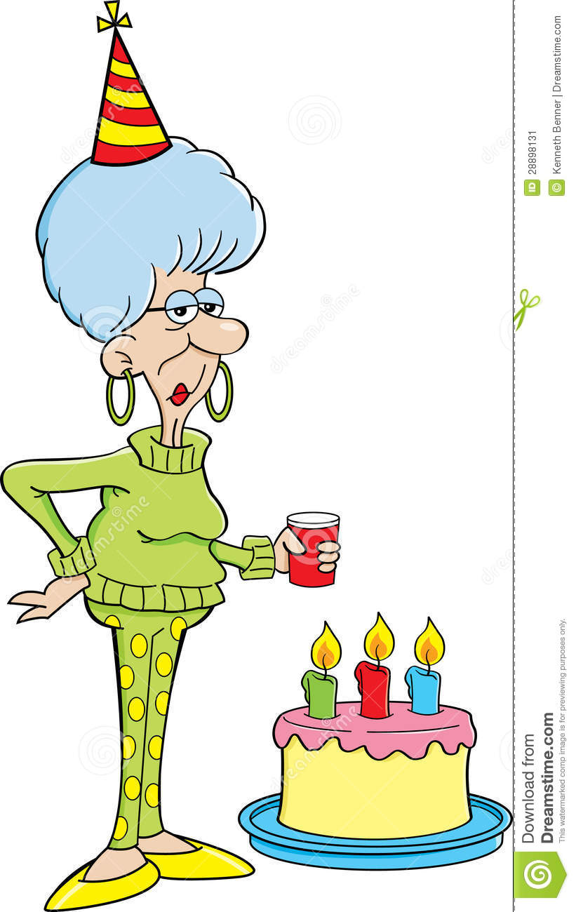 Cartoon Elderly Women With A Birthday Cake Stock Image