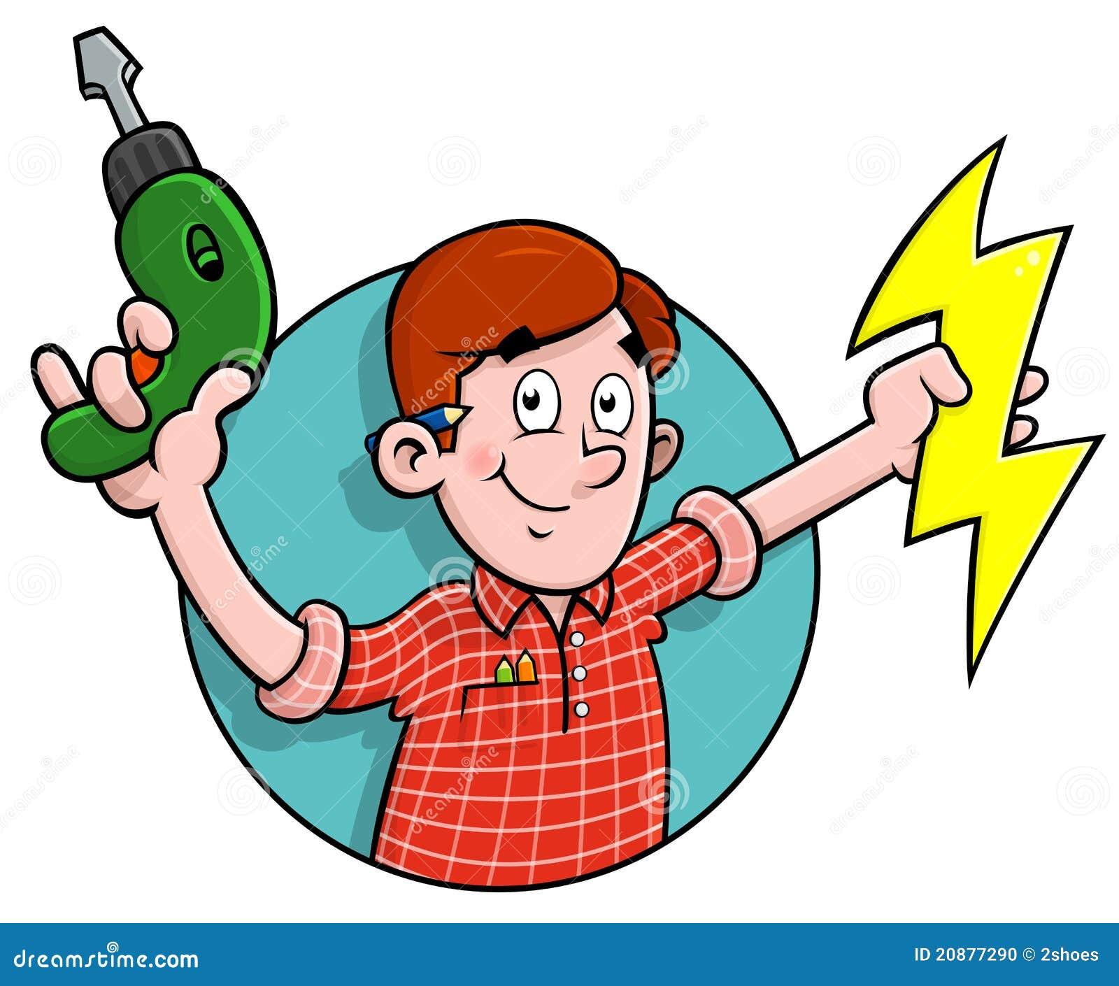 Cartoon Electrician Logo Stock Photo