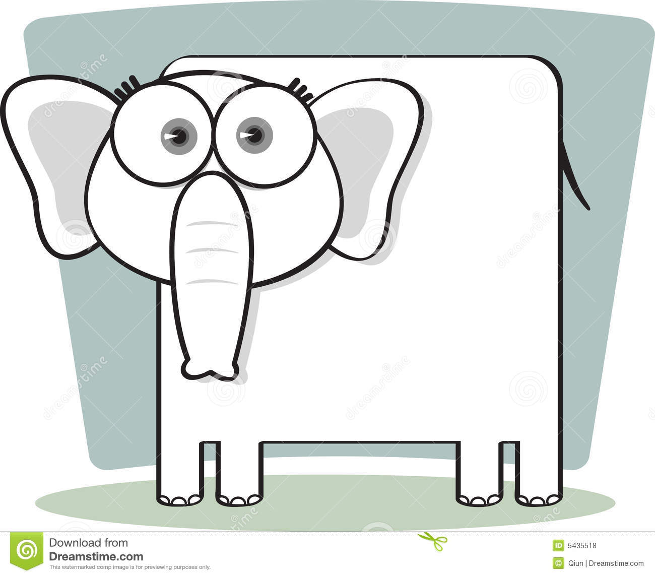 Royalty Free Stock Photos  Cartoon Elephant in Black and WhiteCartoon Elephant Black And White