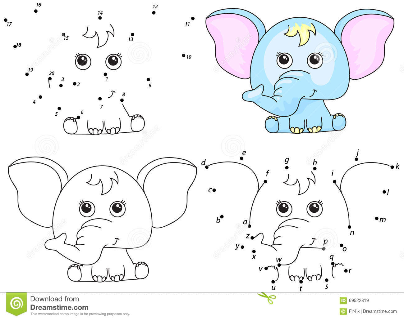 Royalty Free Vector Download Cartoon Elephant Coloring Book