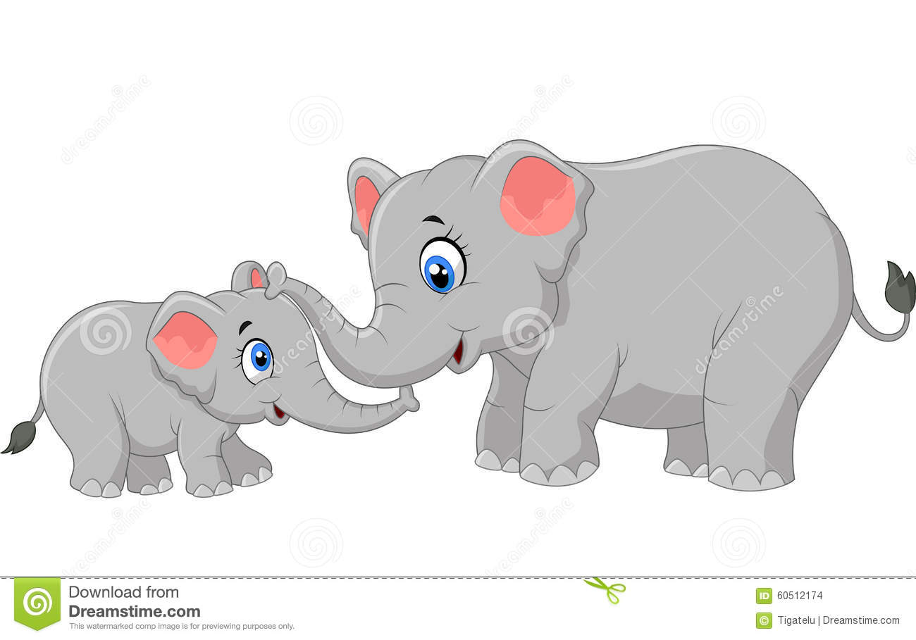 Cartoon Elephant Mother And Calf Bonding Relationship ...