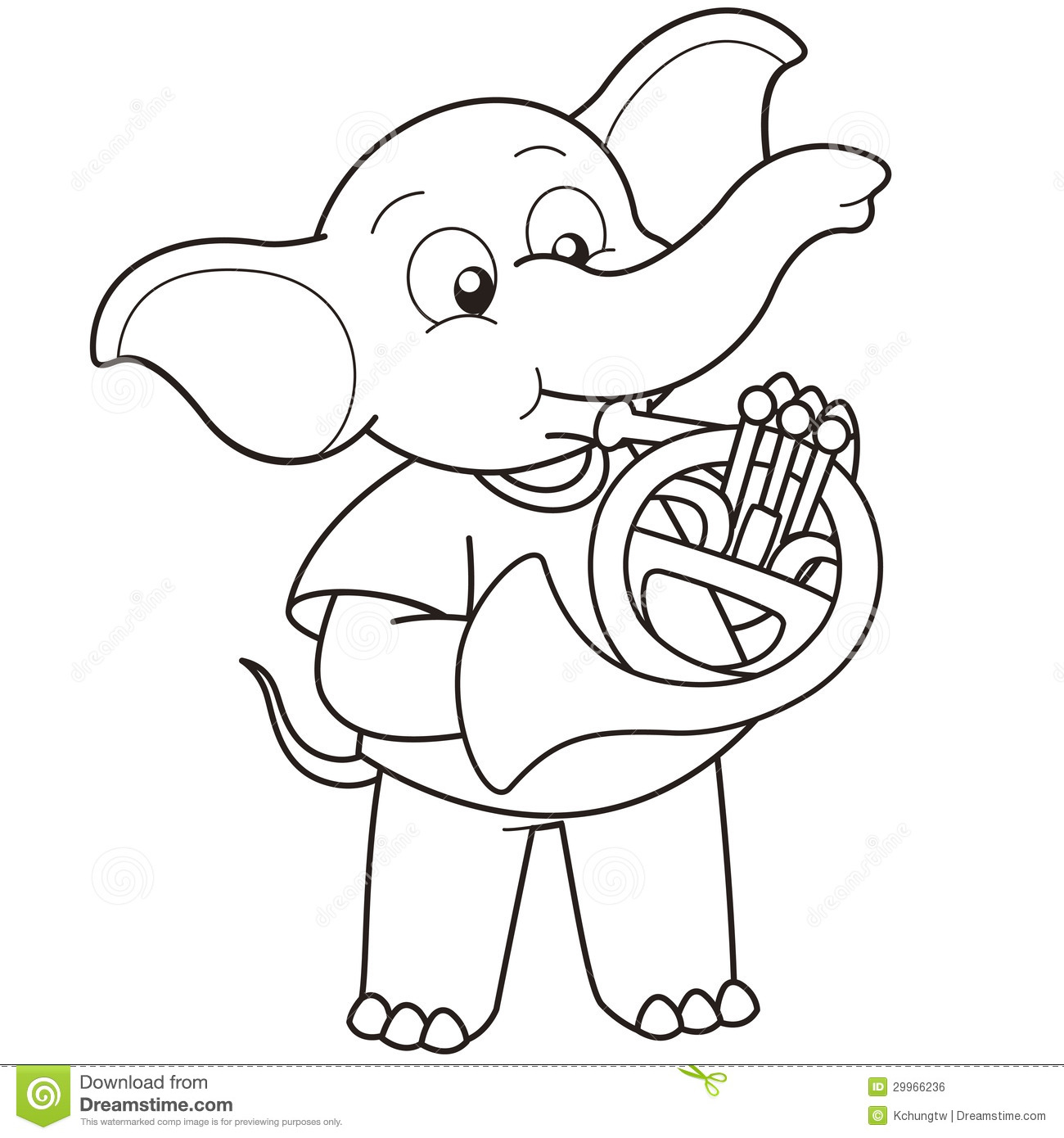 Cartoon elephant playing a french horn black and white Cartoon Elephant Black And White