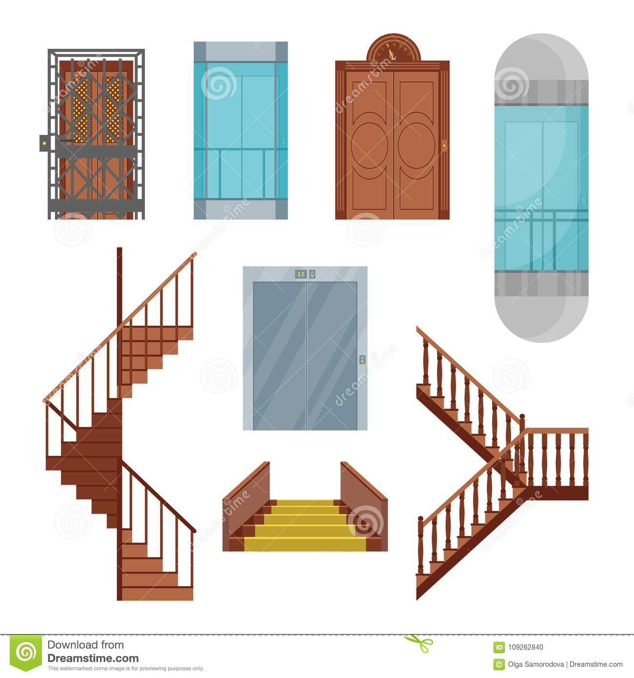 Cartoon Elevators And Stairs Set. Vector Stock Vector
