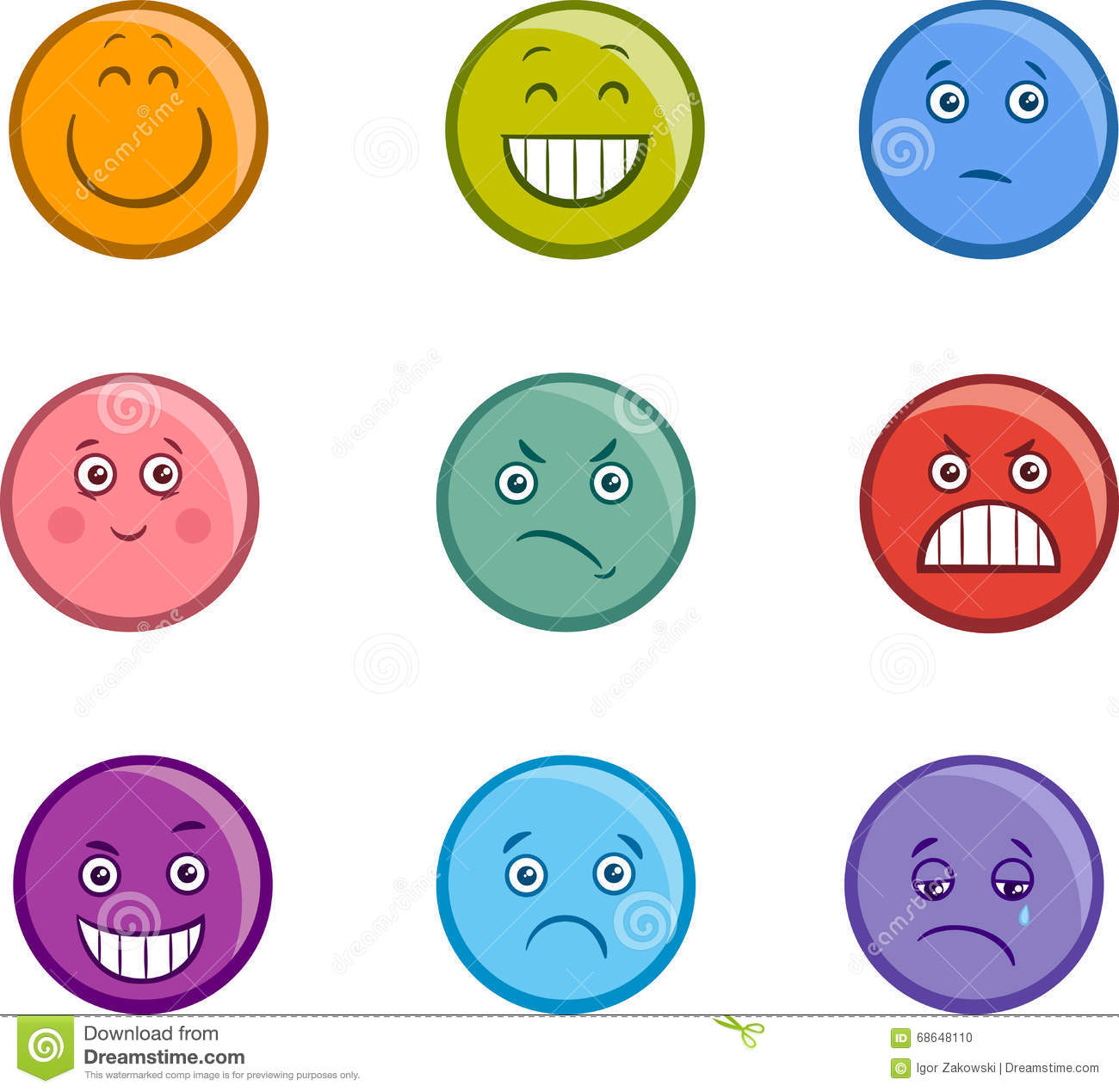Cartoon Emoticons Faces Set Stock Vector - Illustration of ...