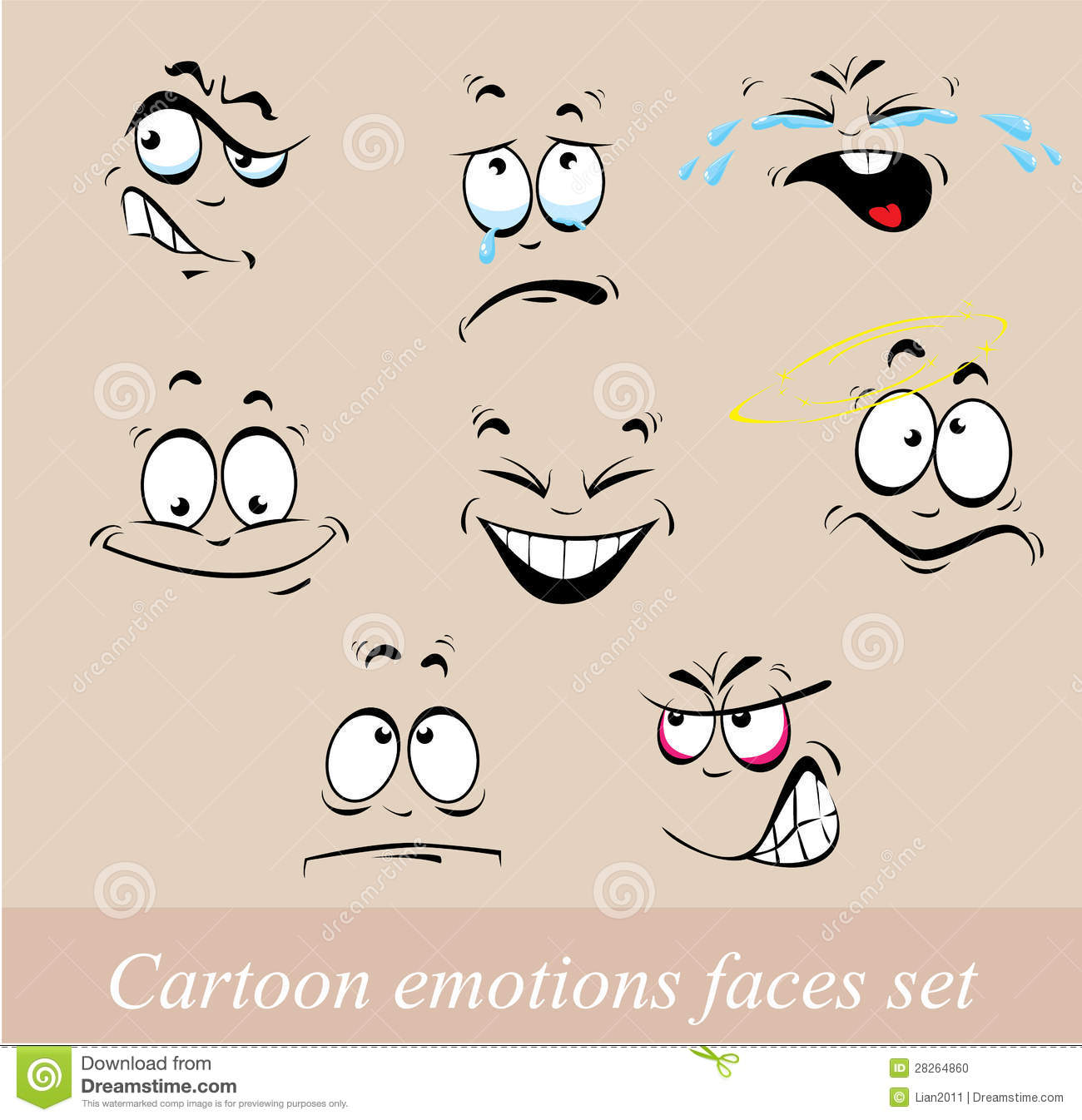 Cartoon emotions faces set stock vector image of