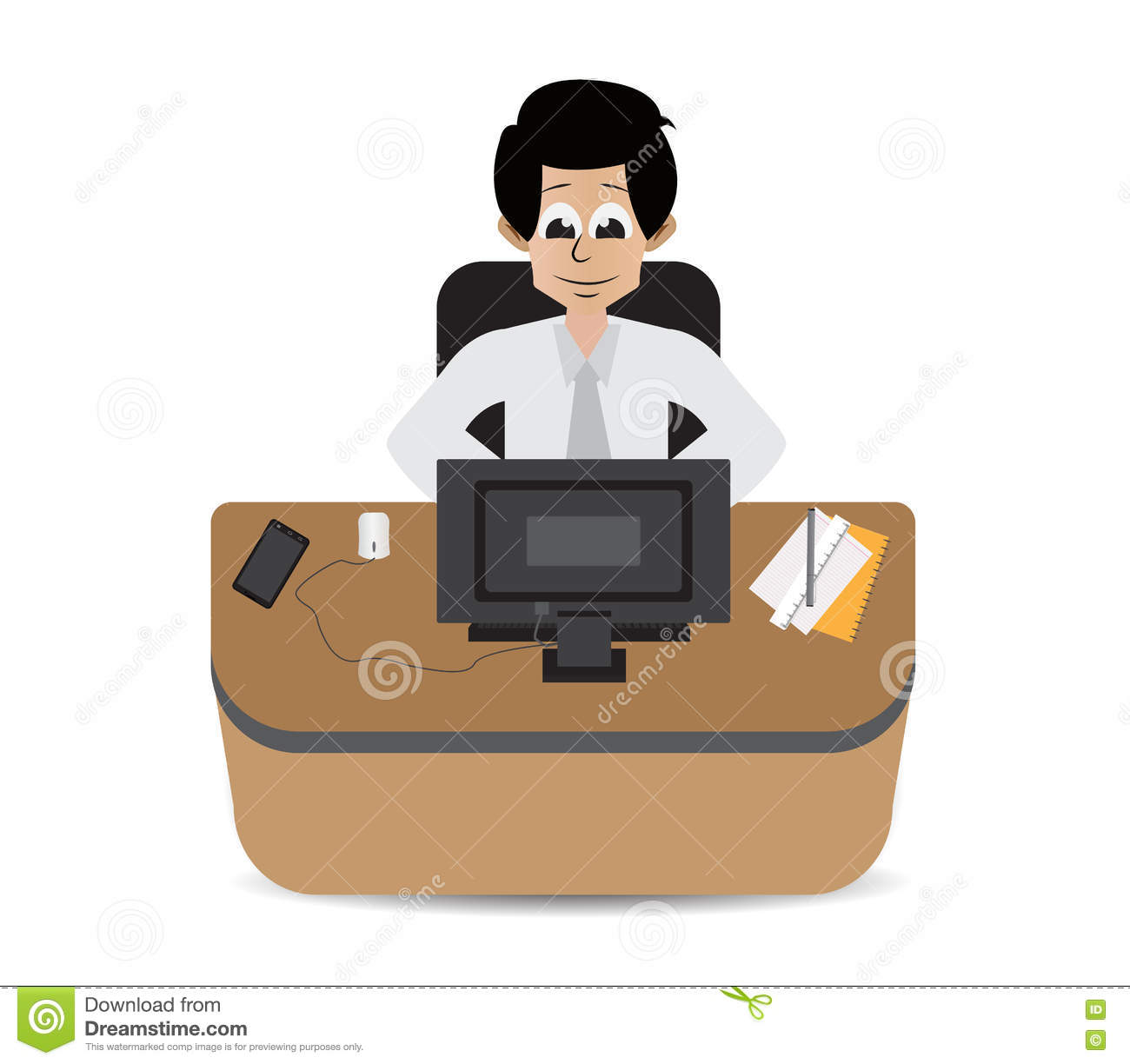cartoon employee on working hard stock vector image  cartoon employee on working hard