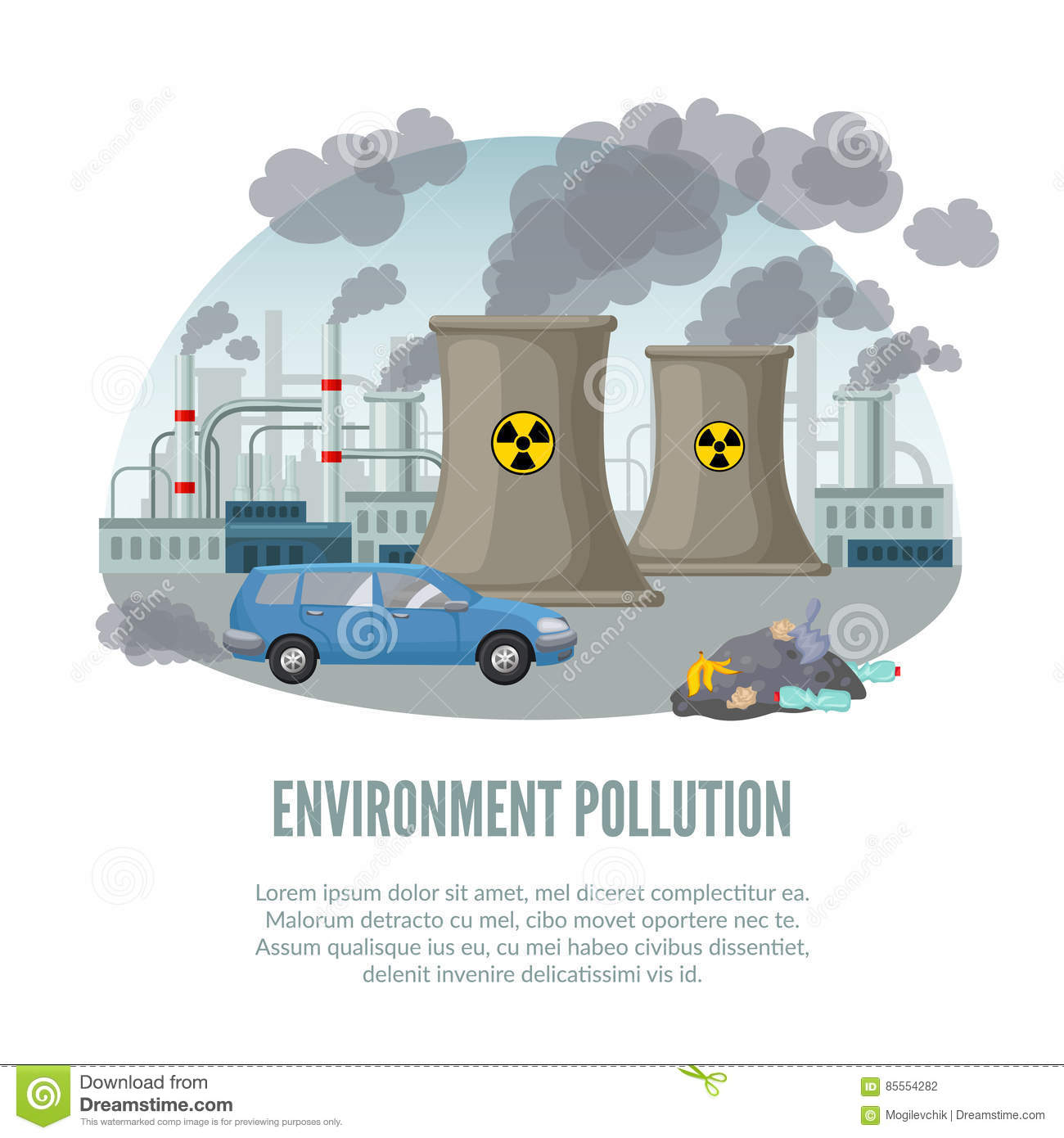 Cartoon Environmental Pollution Template Stock Vector Illustration Nuclear Power Plant Diagram Animation With Car Factory And Waste