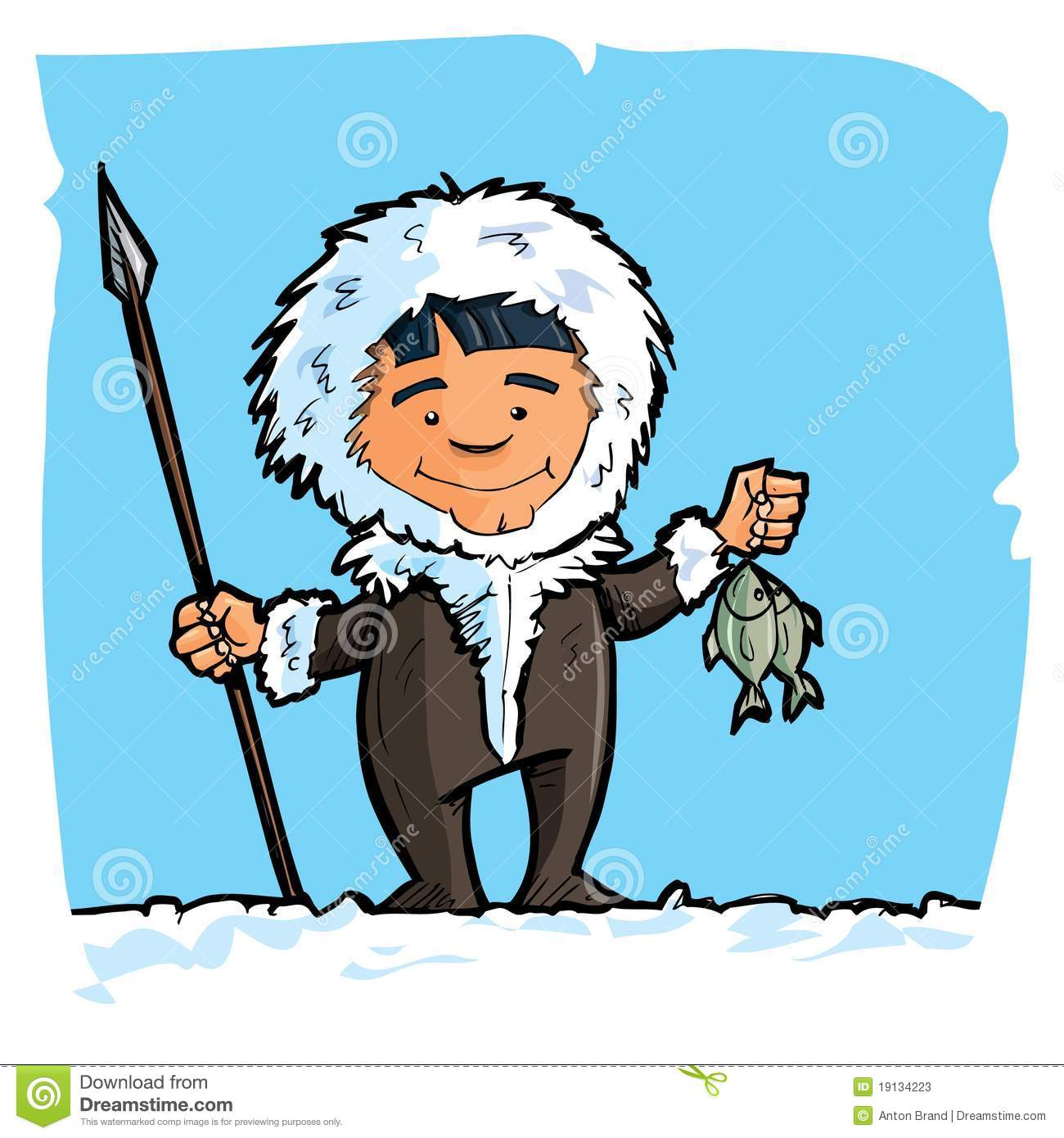 Clip Art Eskimo Clipart eskimo stock illustrations 1147 cartoon with a spear and fish photos