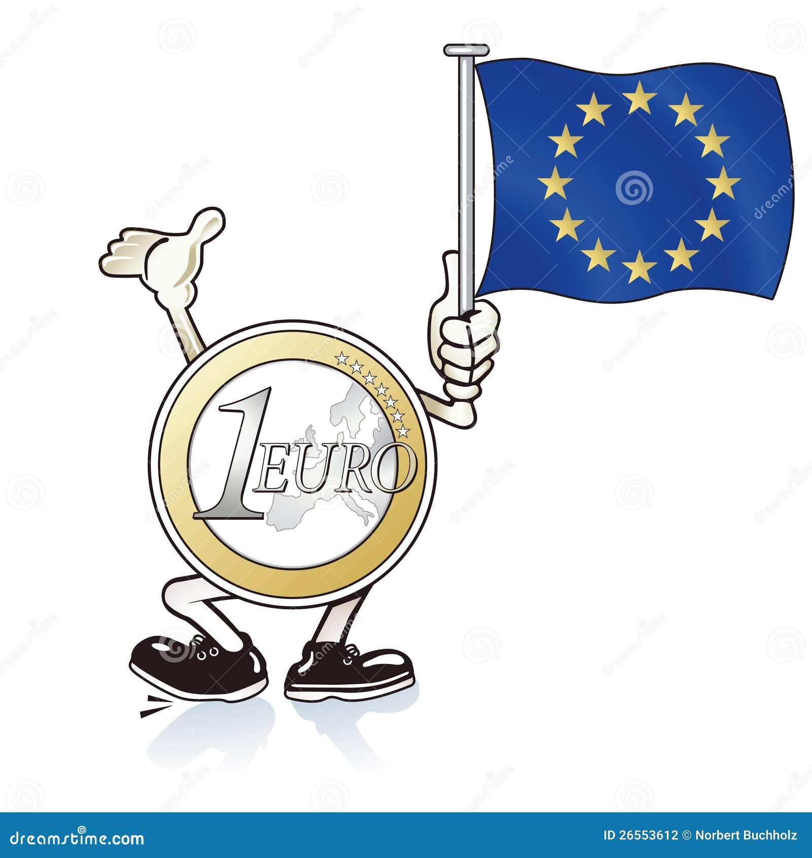 Cartoon illustration of Euro coin figure waving European flag for help ...