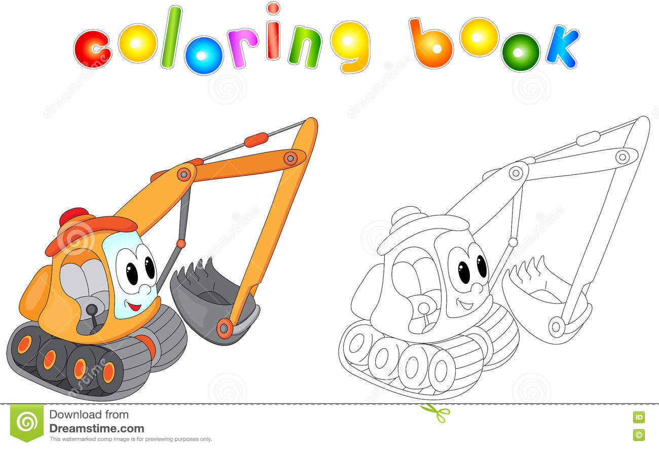 cartoon excavator coloring book for kids stock vector image