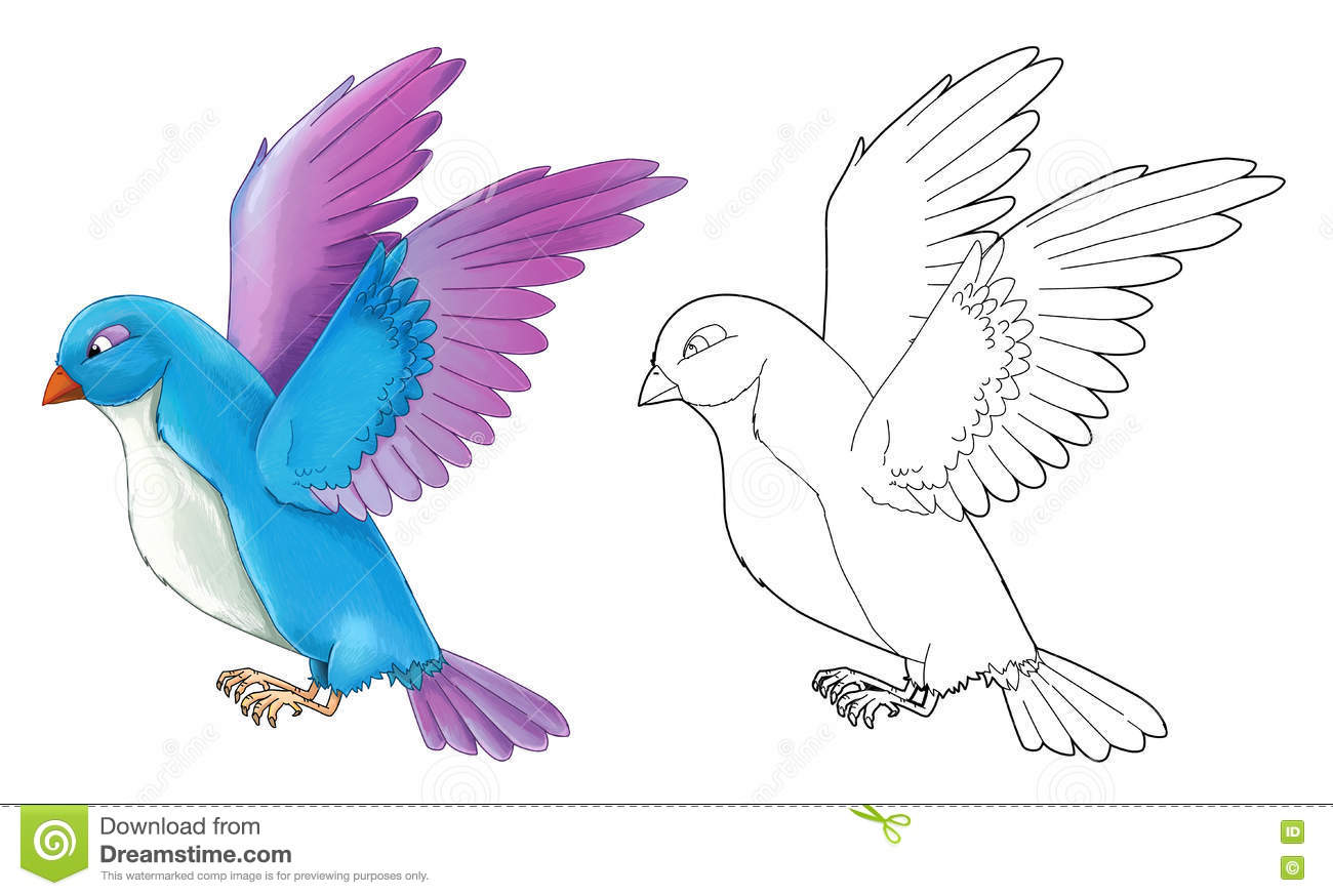 Cartoon Exotic Colorful Bird Flying Isolated With Coloring Page Stock Illustration Illustration Of Fairytale Cute 76892405
