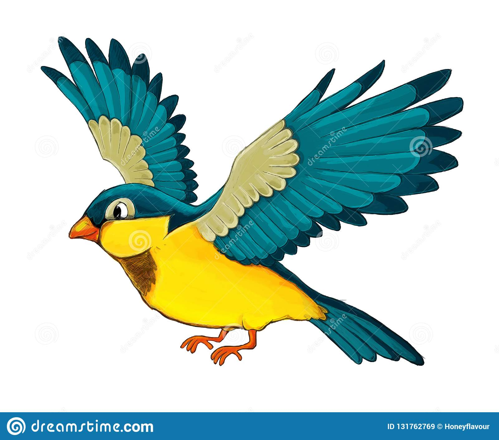 Cartoon Exotic Colorful Bird Flying On White Background Stock
