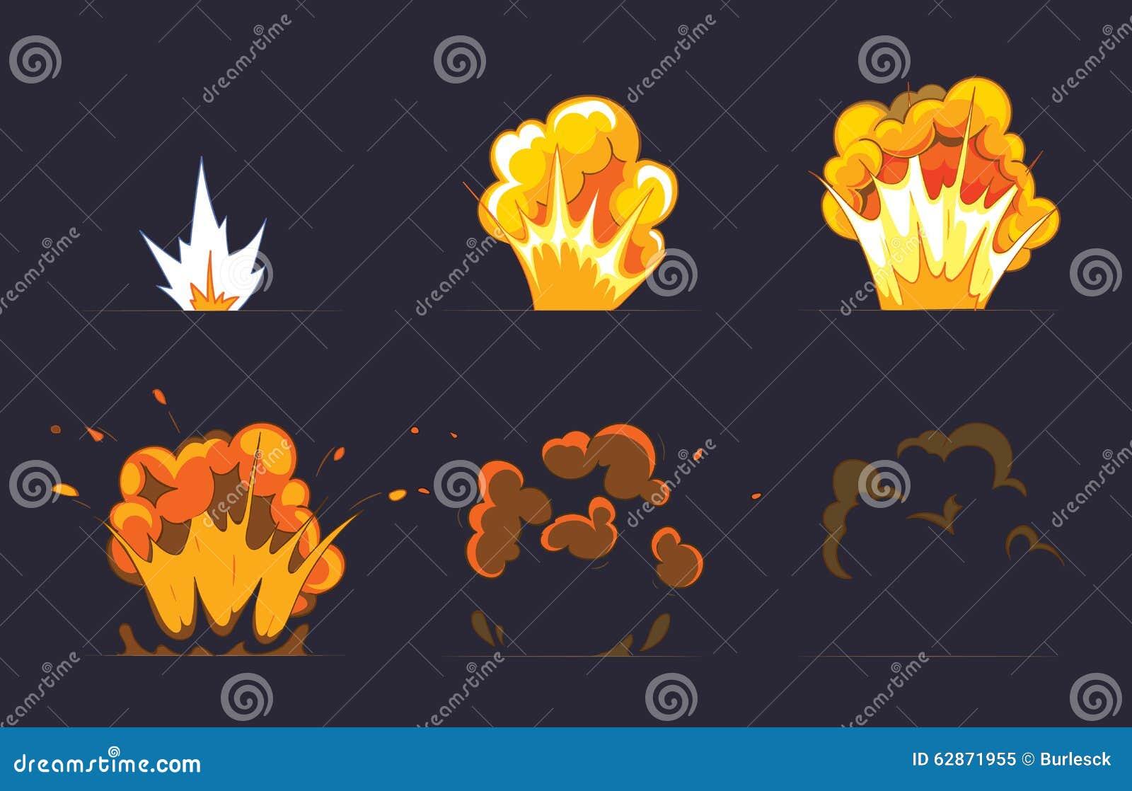 cartoon explosion effect with smoke  vector stock vector