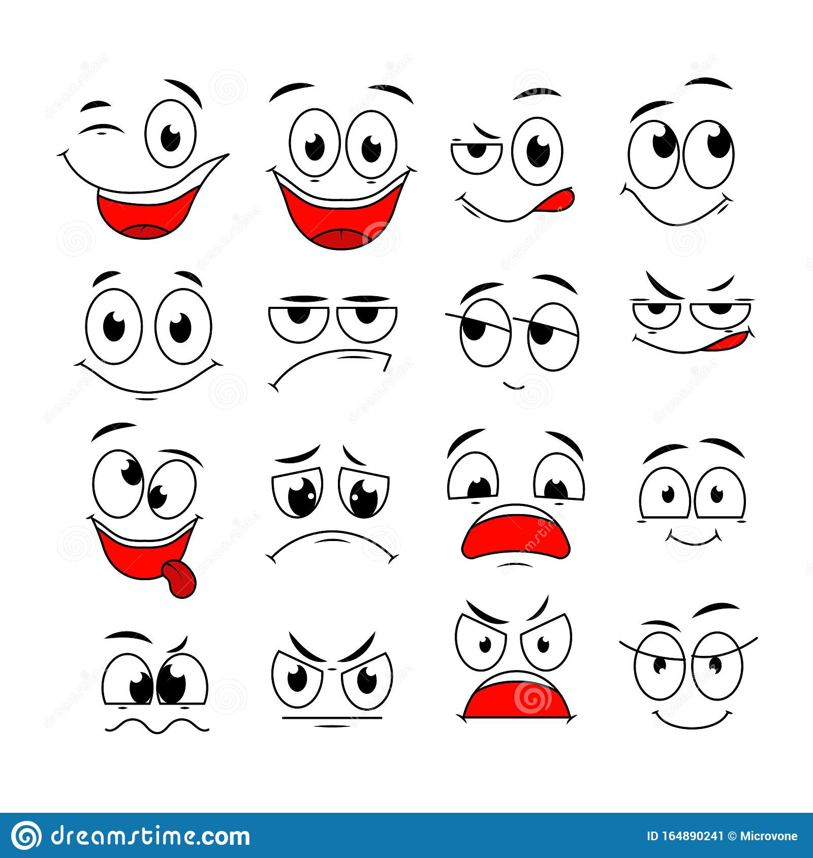 Cartoon Expressions Cute Face Elements Eyes And Mouths With Happy