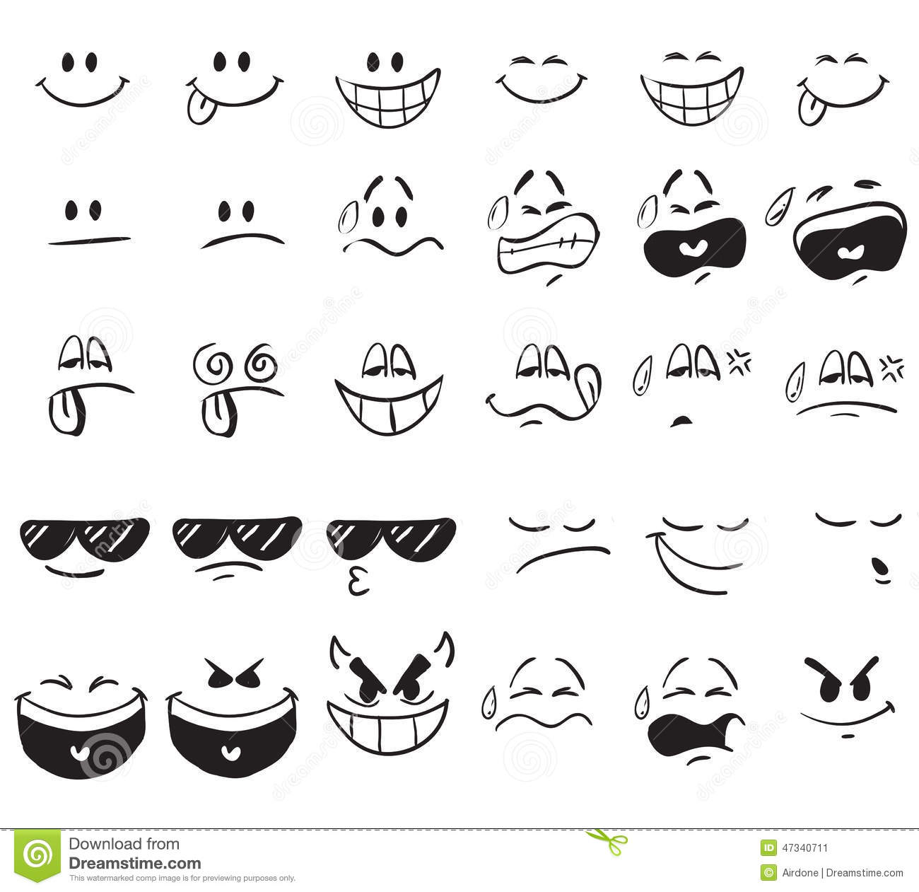 Cartoon Expressions Stock Vector Image 47340711