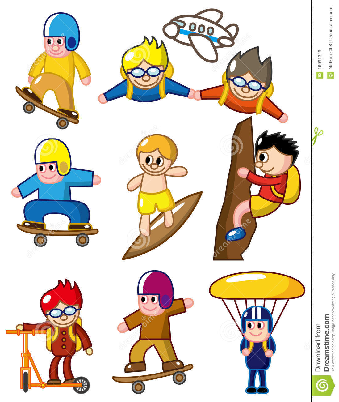 cartoon sport extreme icon drawing vector royalty preview illustration