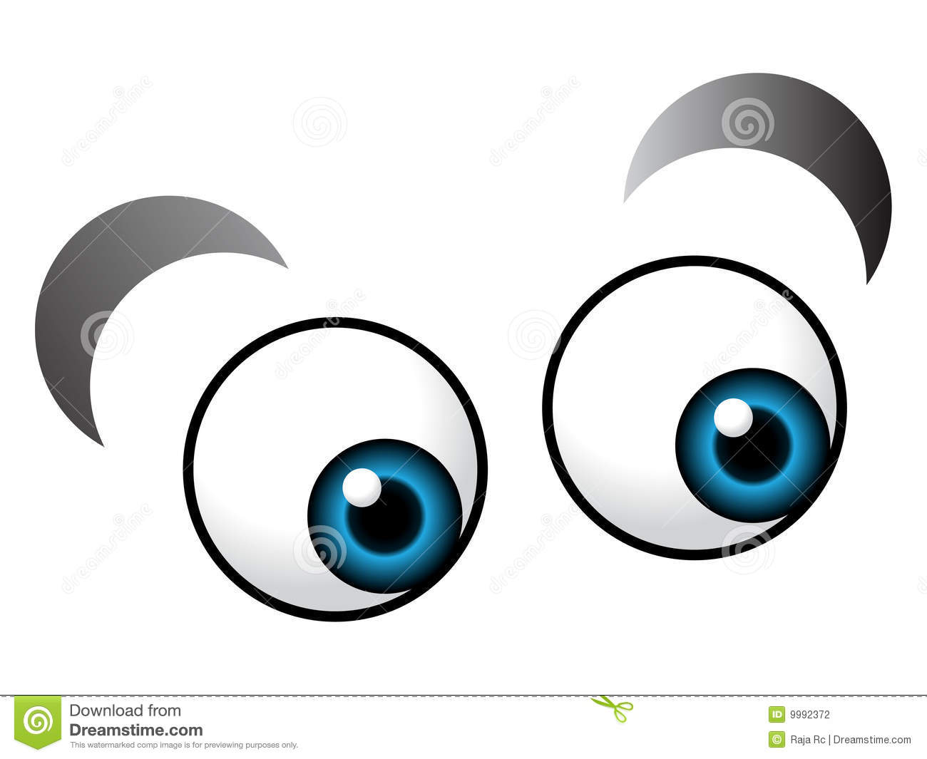 Illustration of cartoon eyes on isolated background.