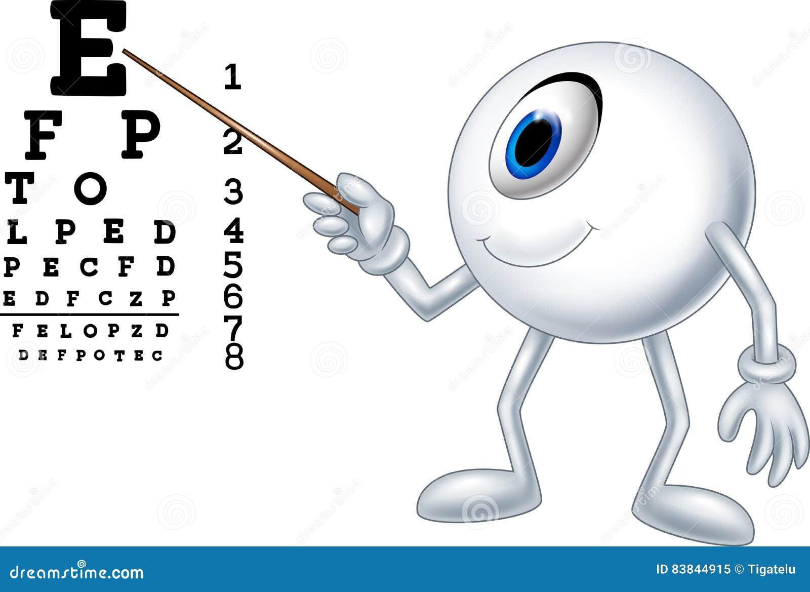 Cartoon eye ball optician pointing to Snellen chart