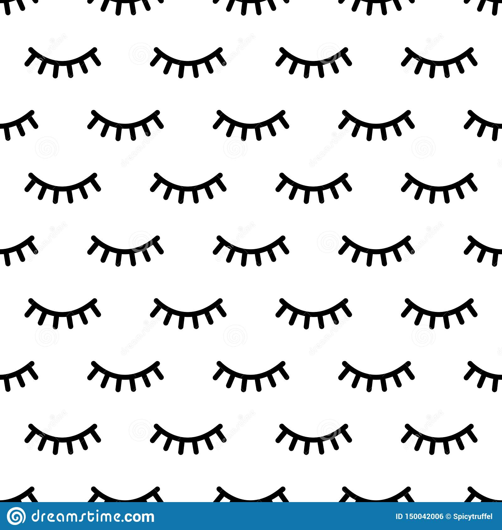 Cartoon eyelashes pattern. Doodle female makeup background, simple minimalist unicorn closed eyes. Vector seamless print