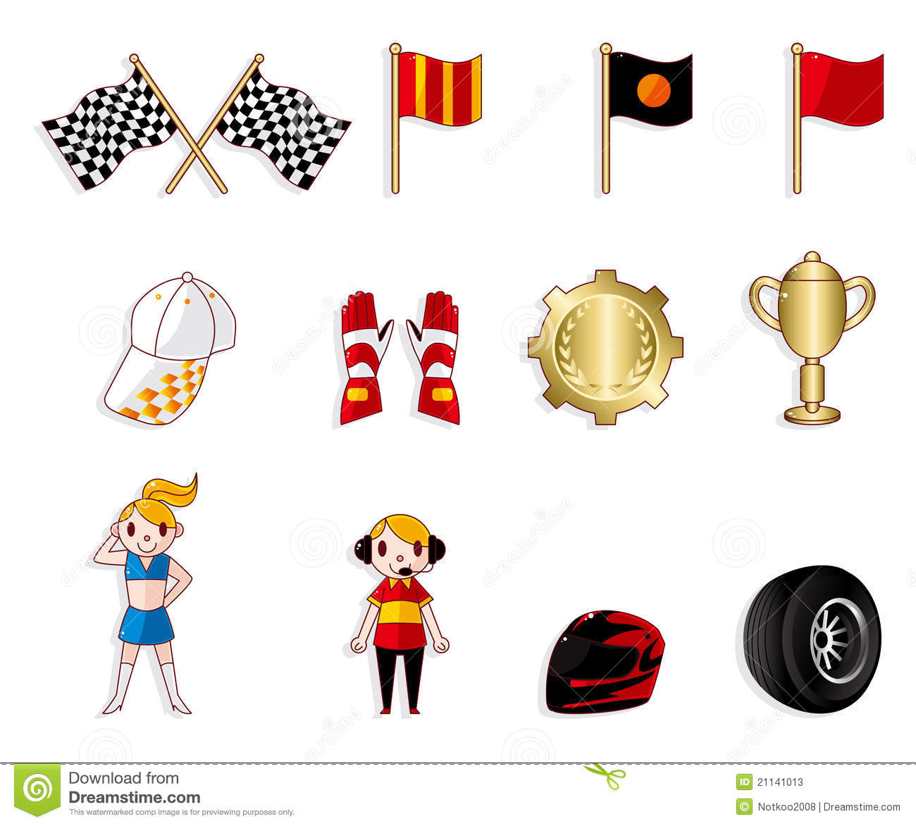 Cartoon F1 Car Racing Icon Set Stock Vector Illustration Of Champagne Maps 21141013