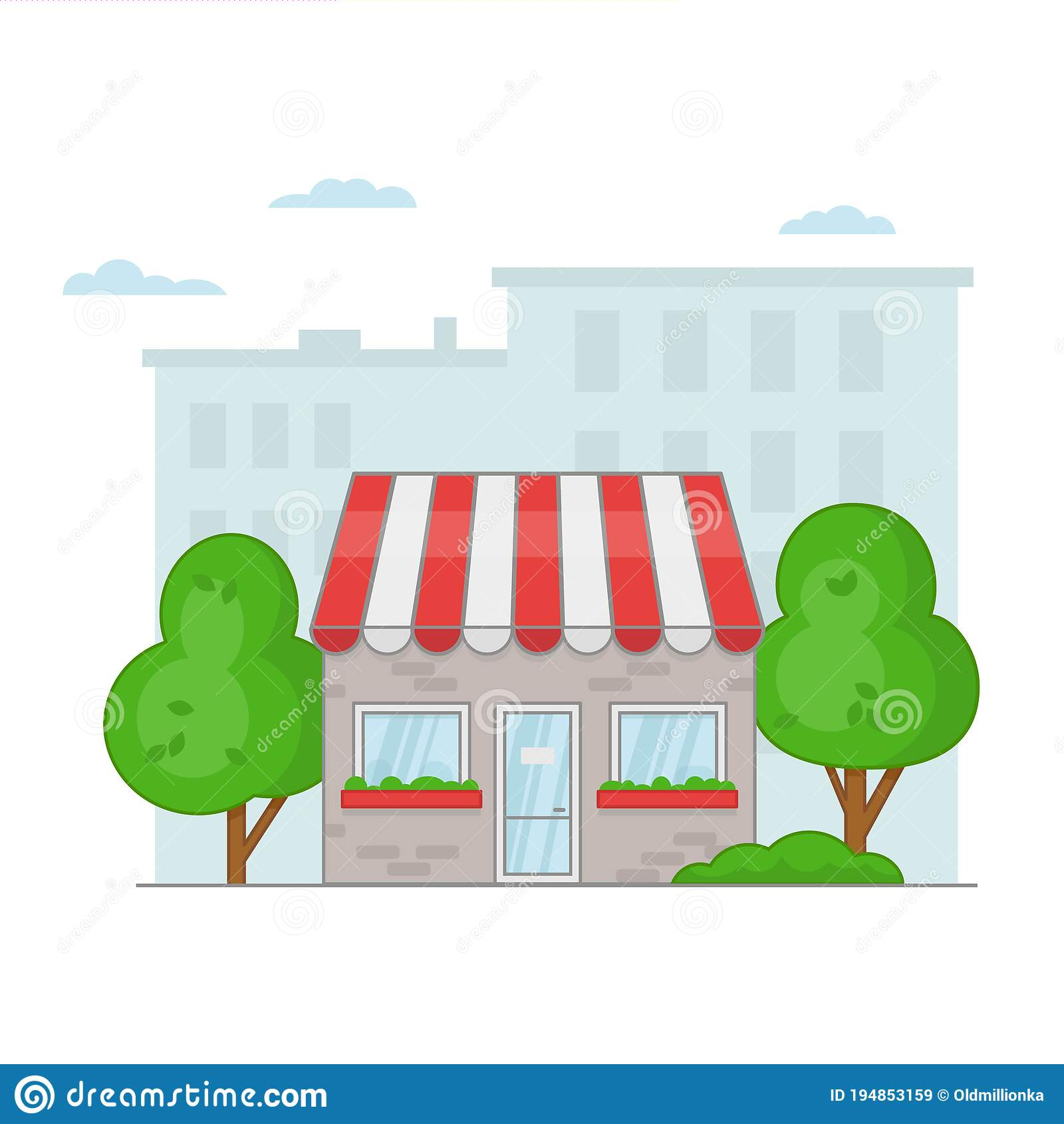 Cartoon Facade Of A Cafe Or Shop On A Cityscape Stock Vector Illustration Of Front Design 194853159