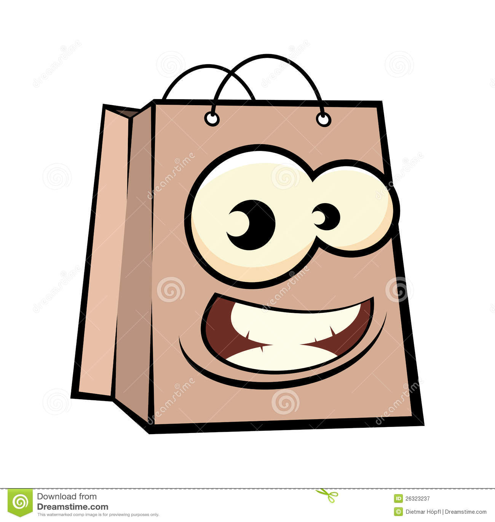 Cartoon Face On Shopping Bag Royalty Free Stock Photography - Image ...