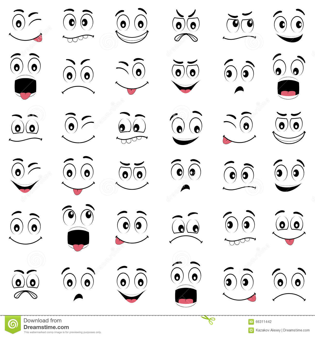 Cartoon Faces With Different Emotions Stock Vector