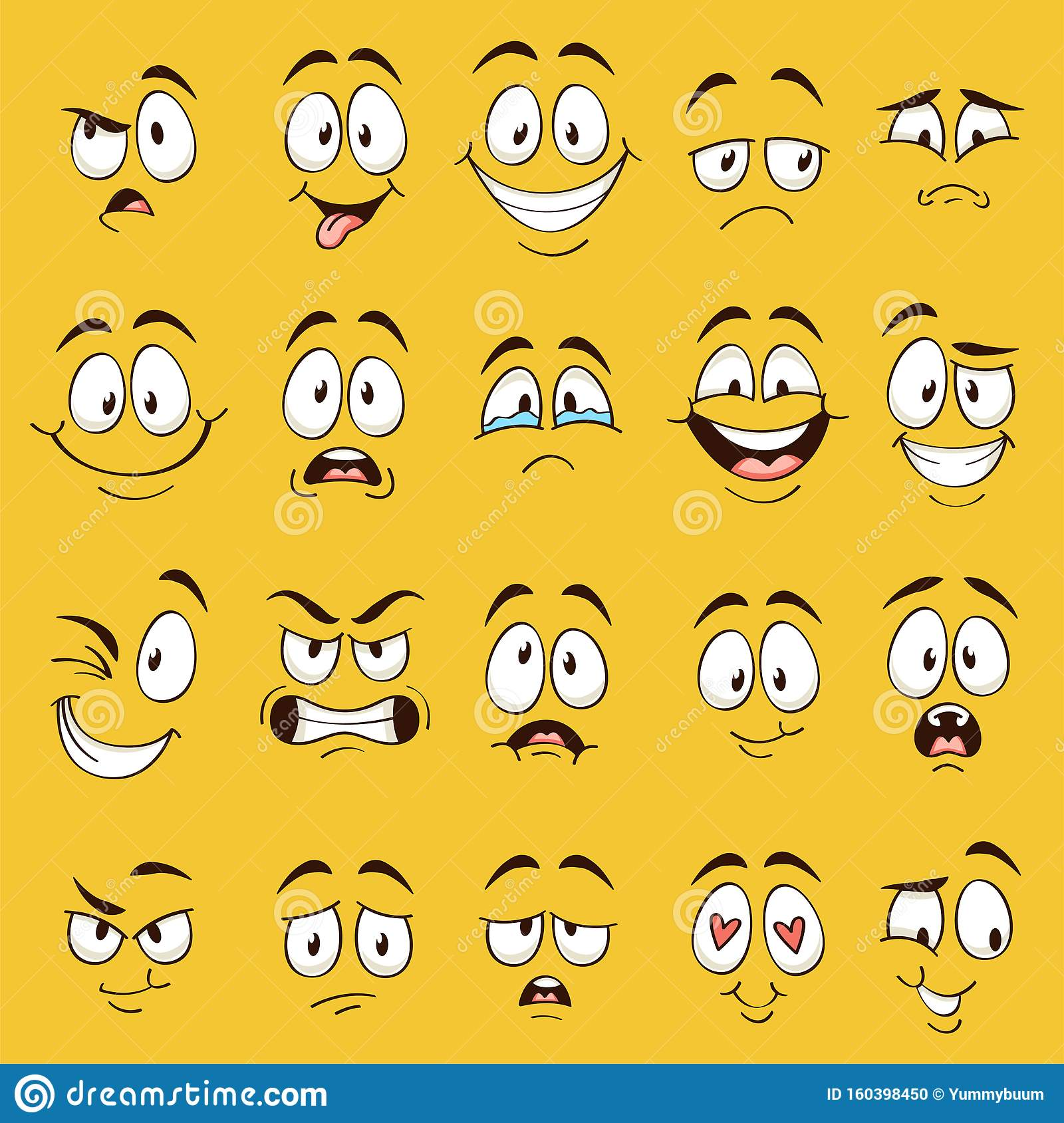 Cartoon Faces Funny Face Expressions Caricature Emotions Cute
