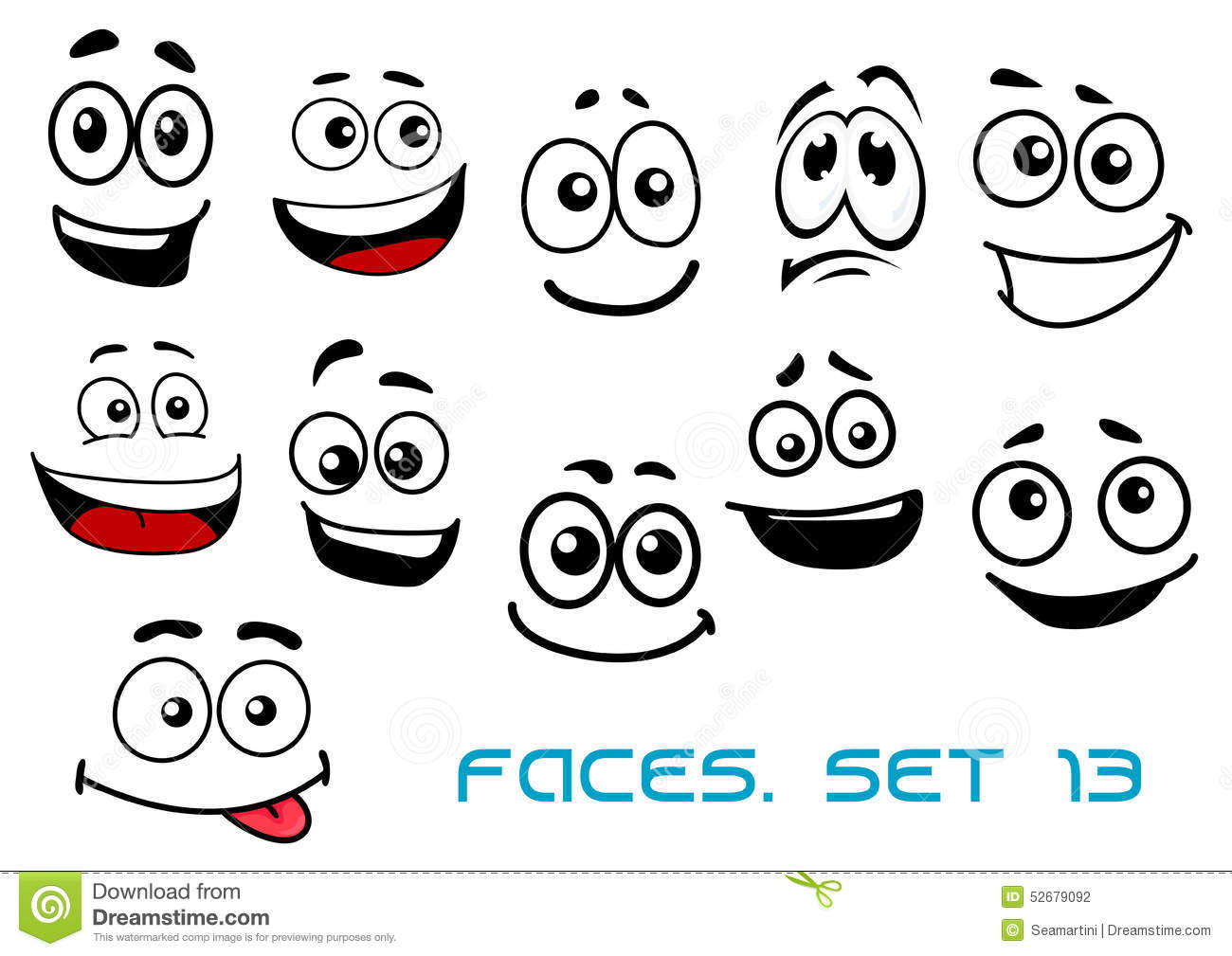 Cartoon Faces With Various Emotions Stock Vector - Image: 52679092
