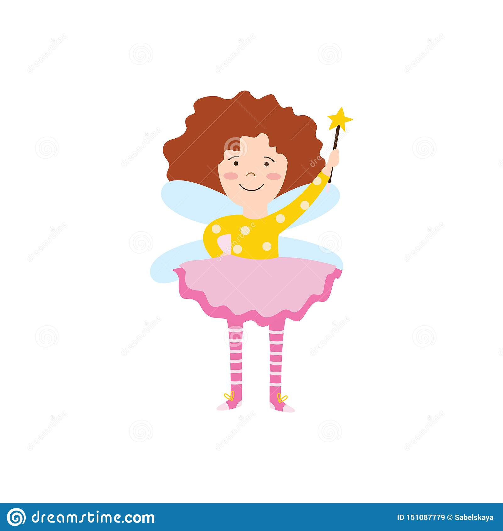 Cartoon Fairy Girl With Magic Wand Flying And Smiling Stock Vector