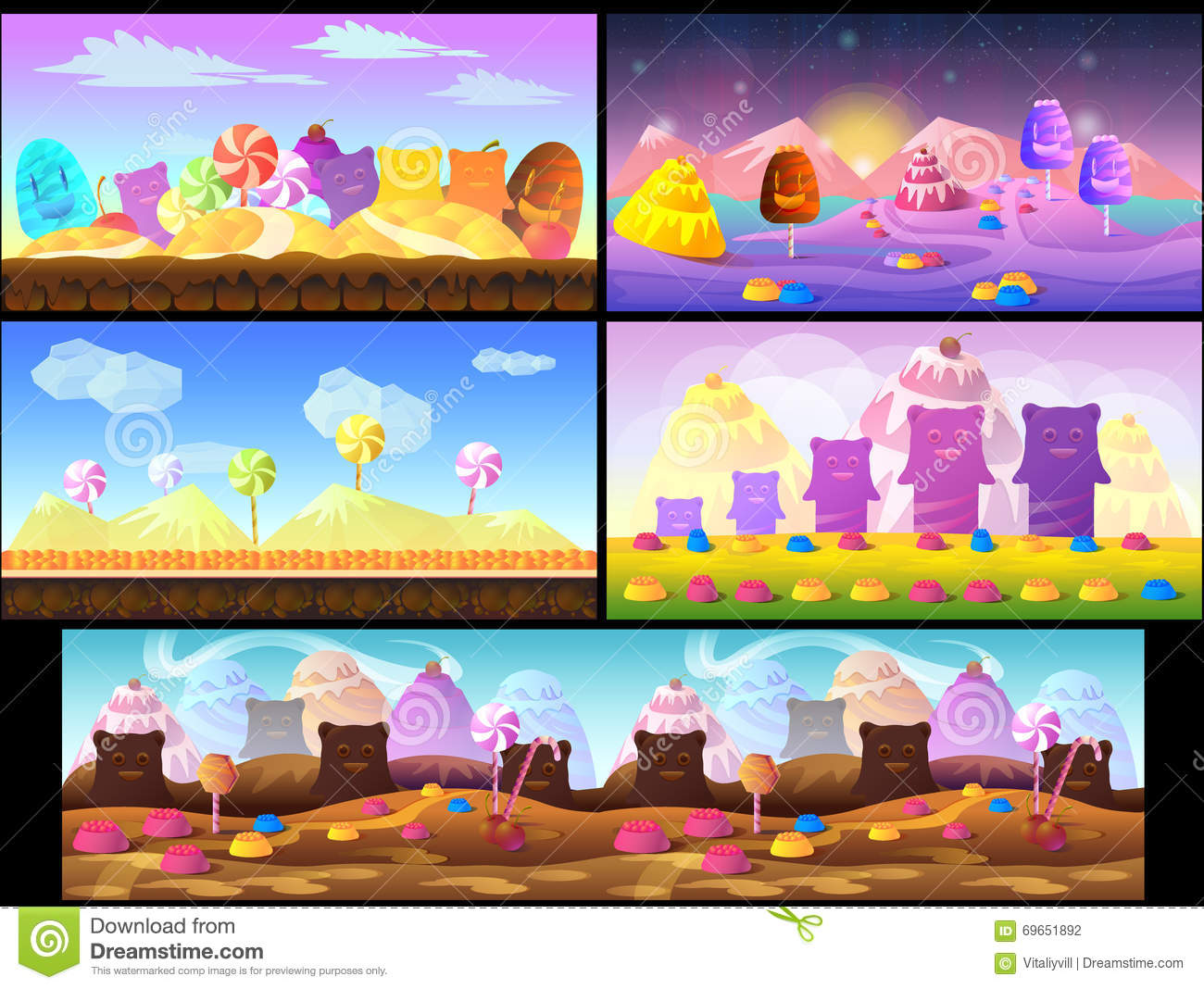 cartoon fairy tale landscape candy land illustration for