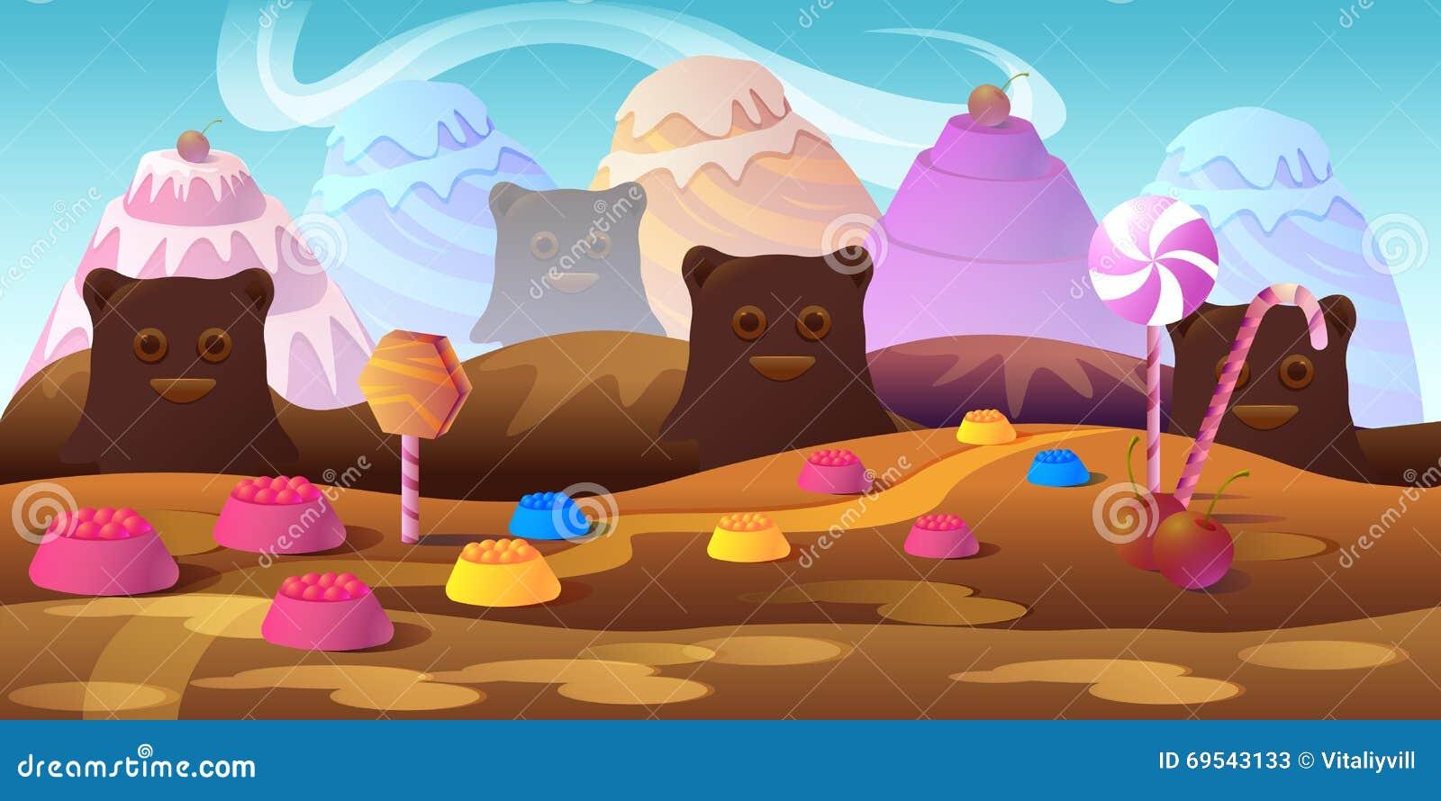 Cartoon Fairy Tale Landscape Candy Land Illustration For