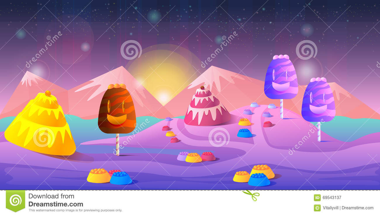 Cartoon Fairy Tale Landscape Candy Land Illustration For Game - 2d game design