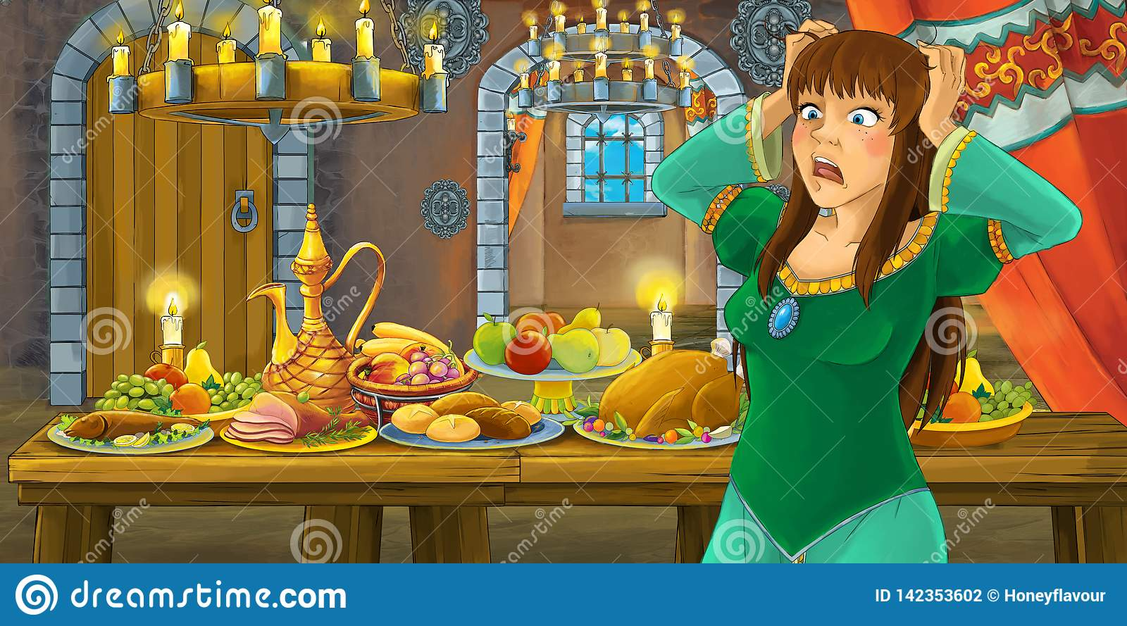 Cartoon fairy tale with princess in the castle by the table full of food looking and smiling