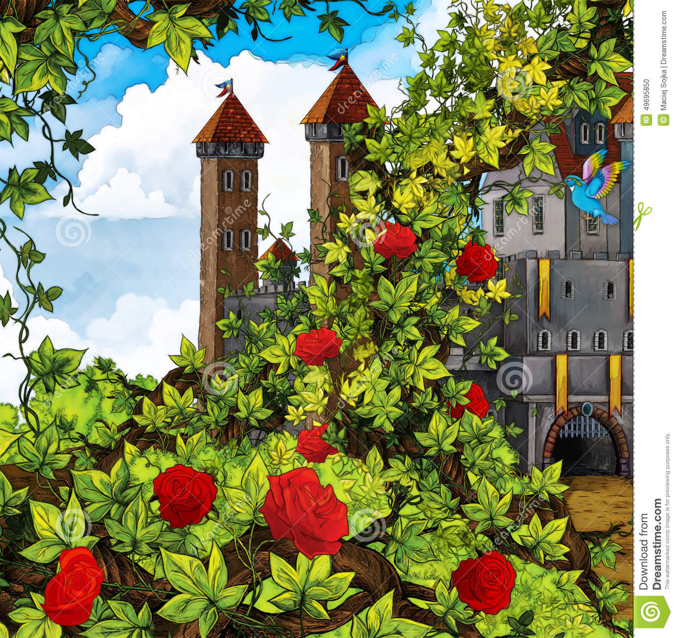 cartoon fairy tale scene garden castle beautiful colorful illustration children 49695850