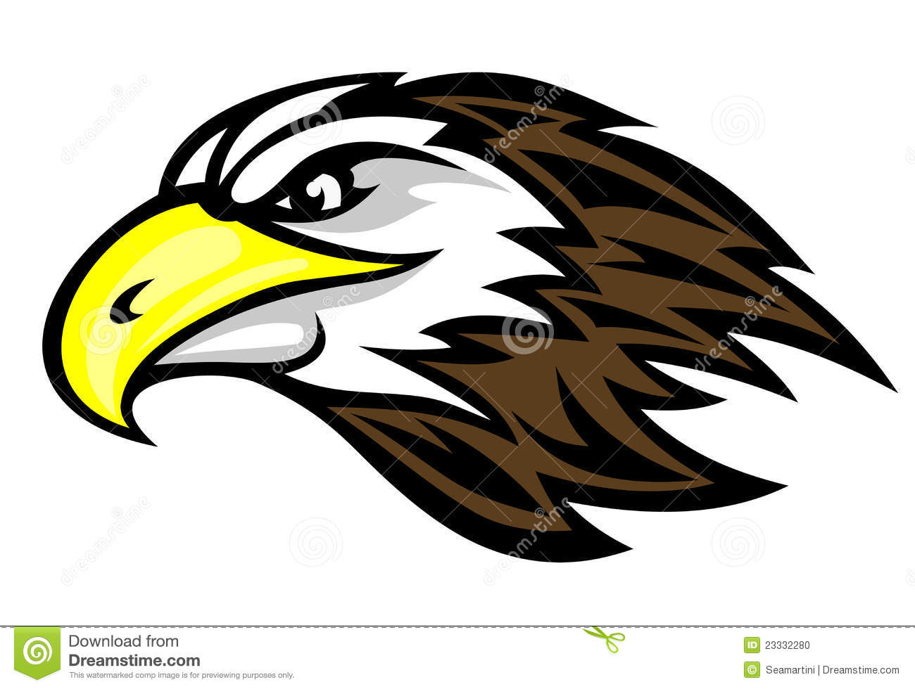 Cartoon falcon head for mascot or tattoo design.