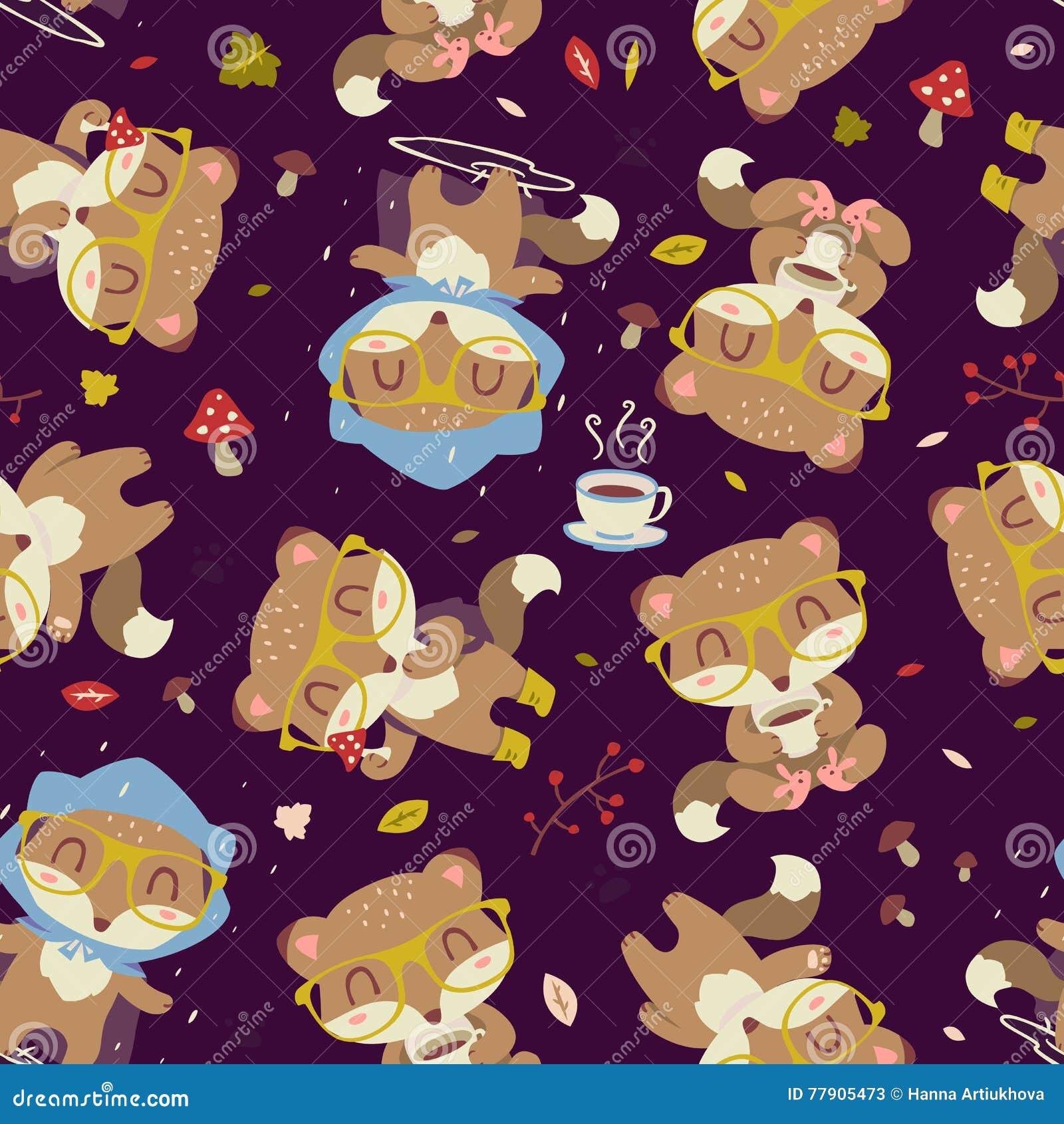 Cartoon fall fox pattern
