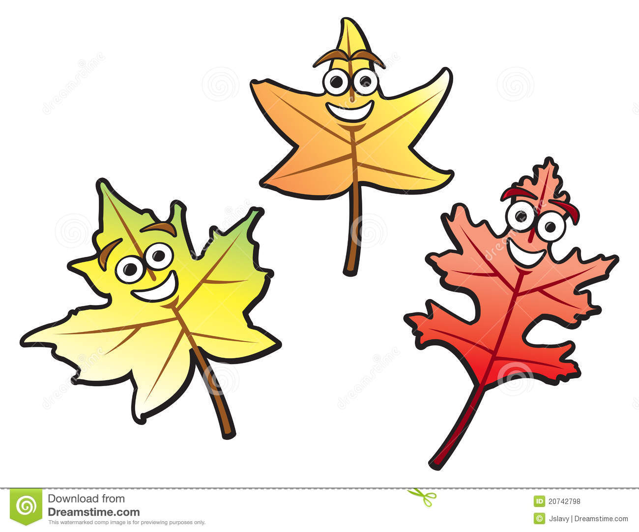 Three autumn leaves of various common types drawn in a fun cartoon