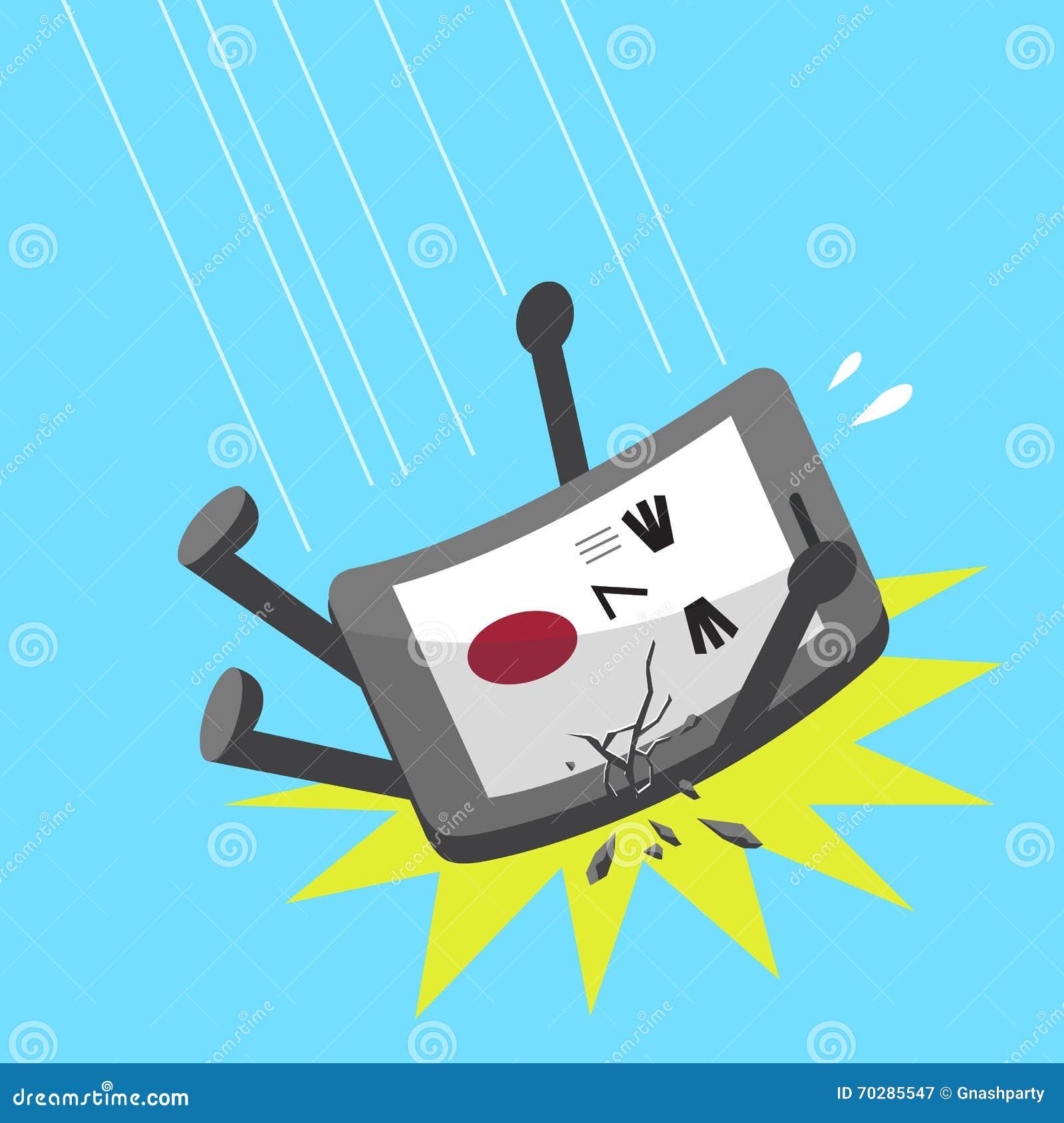 Cartoonsmart Character Design : Cartoon falling smartphone character stock vector image